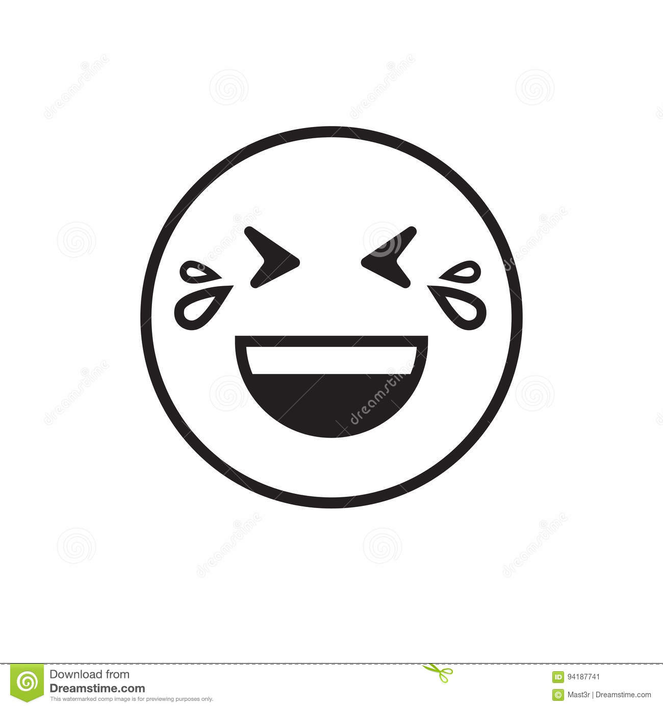 Smiling Emoticon With Open Mouth And Smiling Eyes Vector