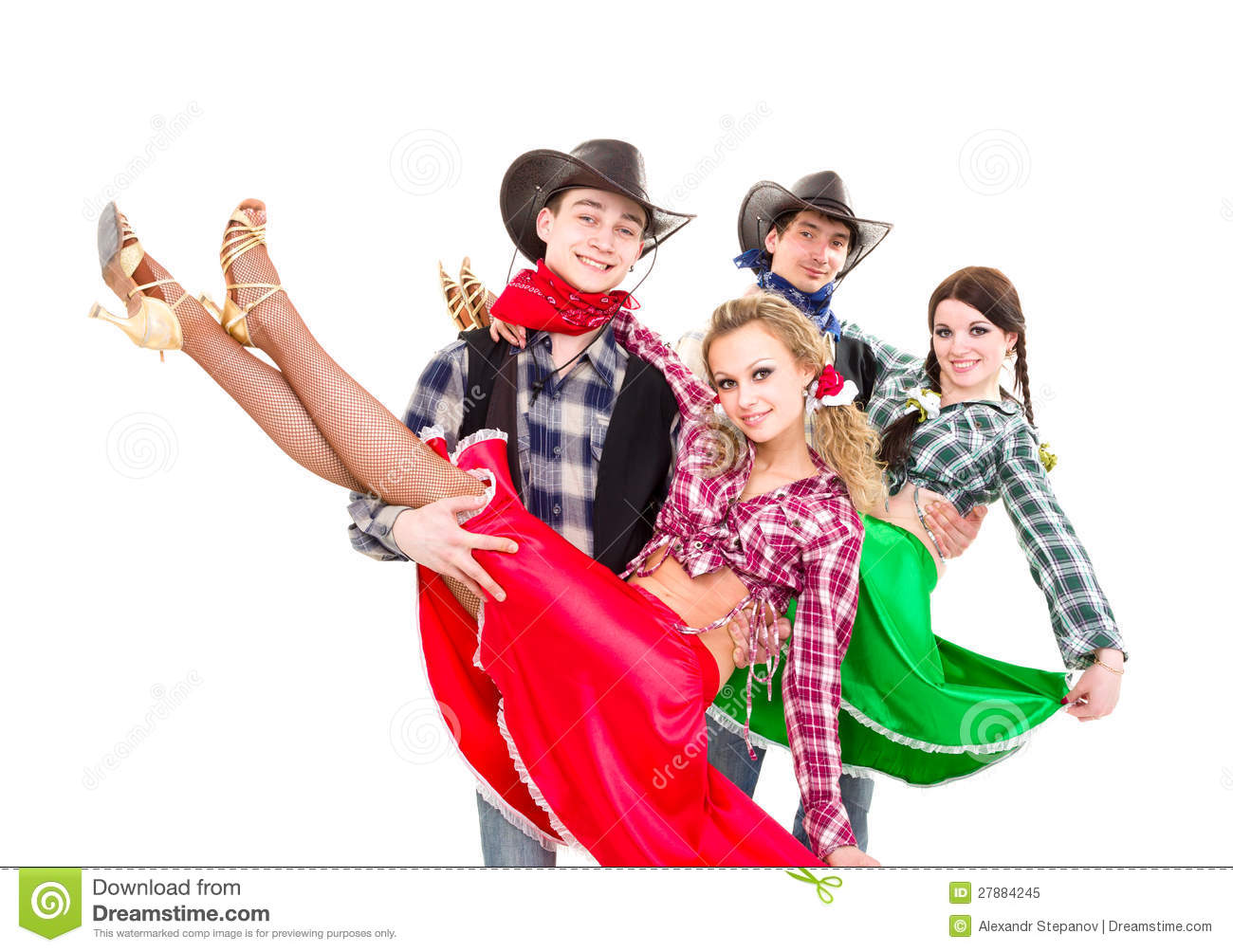 Smiling Cowboys And Cowgirls Dancing Royalty Free Stock
