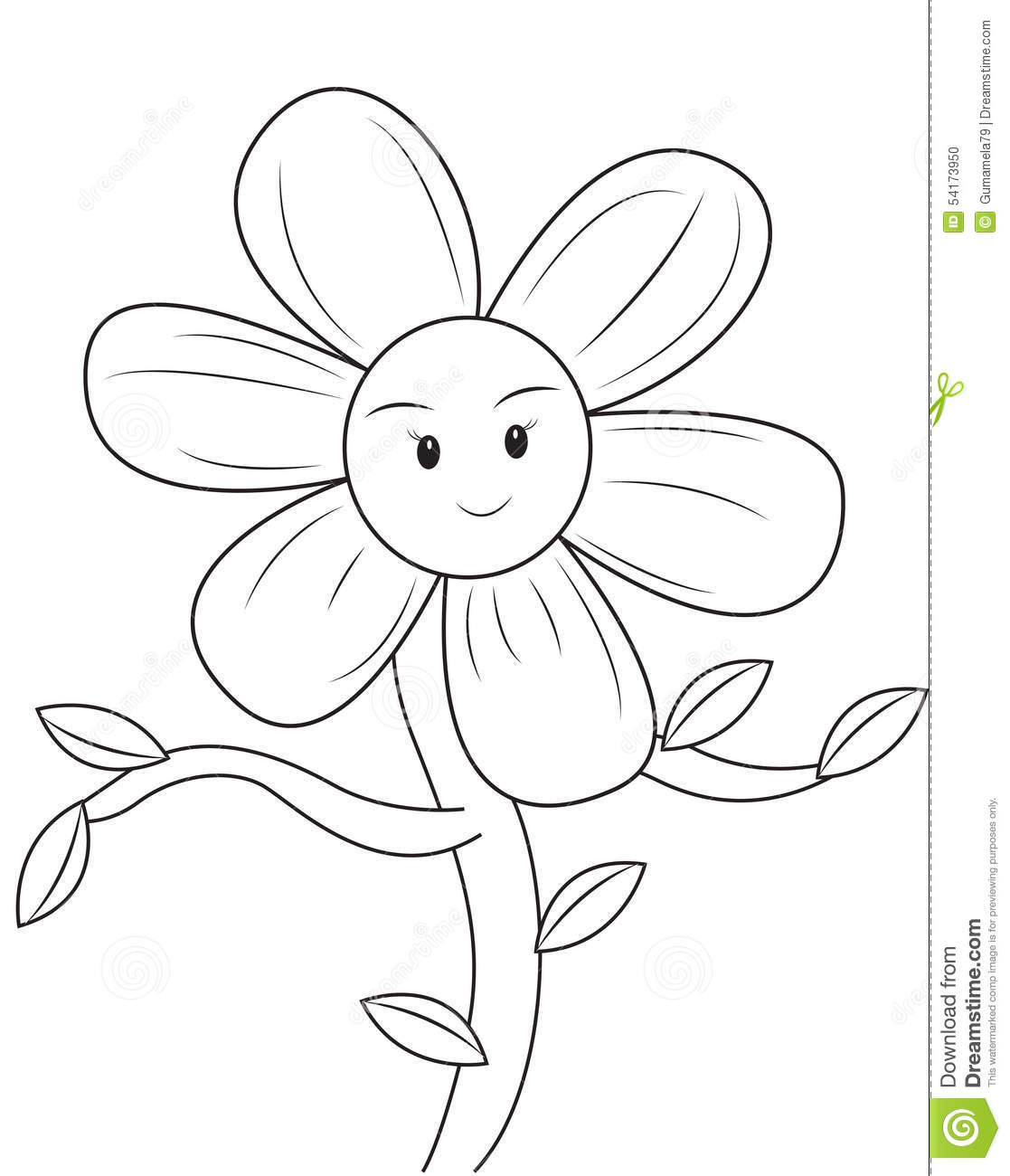Smiling Flower Coloring Page Stock Illustration
