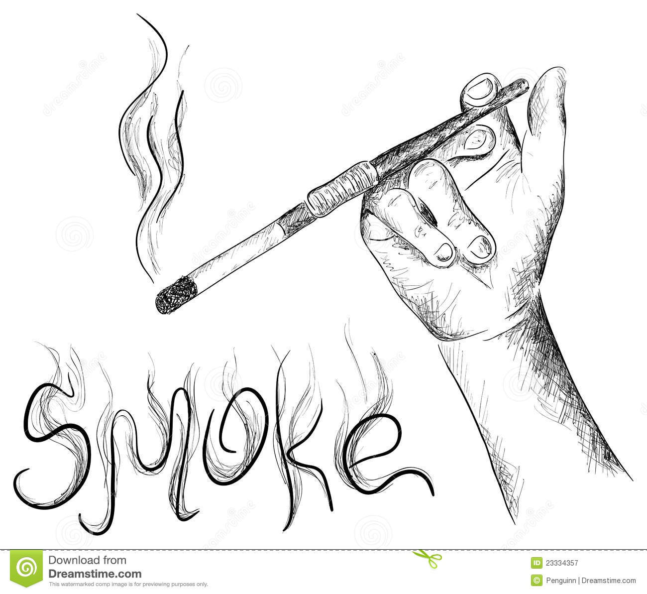 The Smoking Stock Vector Illustration Of Hand Curve