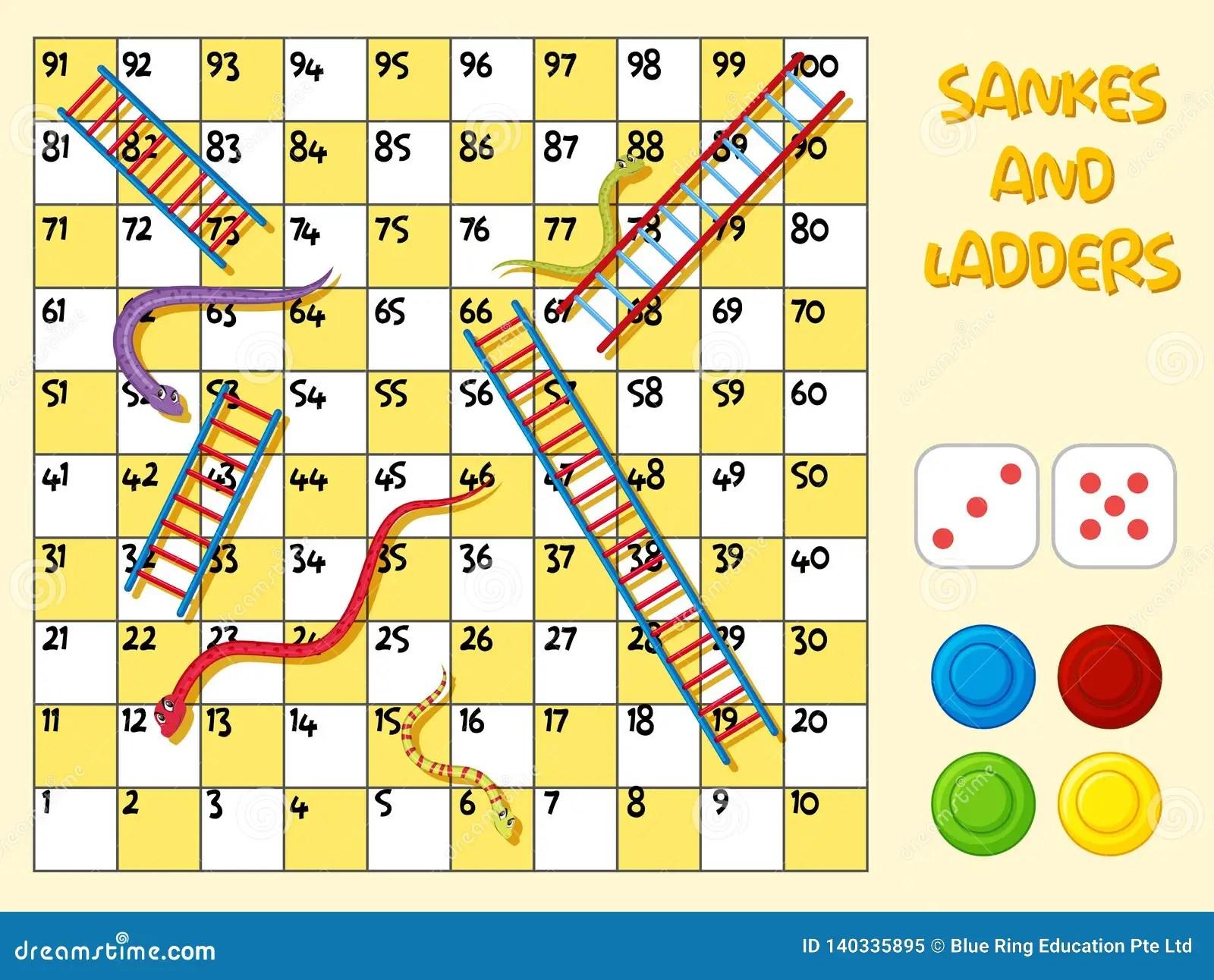 A Snake Ladder Board Game Stock Vector Illustration Of