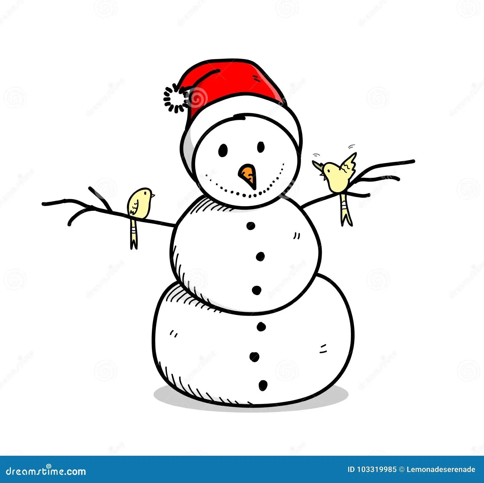 Sneeuwman Santa Hat Cartoon Dragen Vector Illustratie