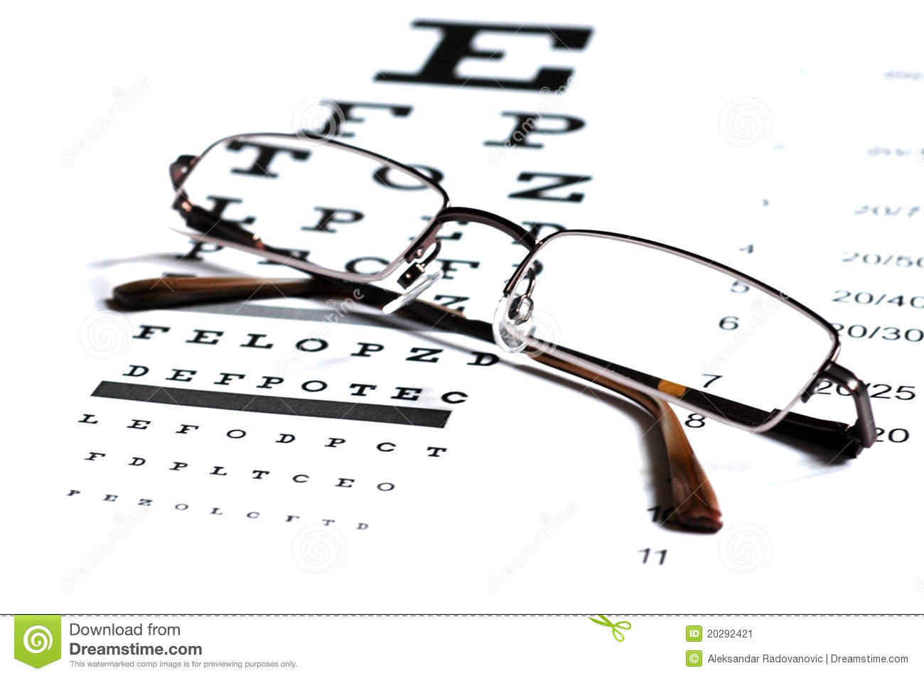 Snellen Eye Chart Test Box 3d Rendering Stock Image