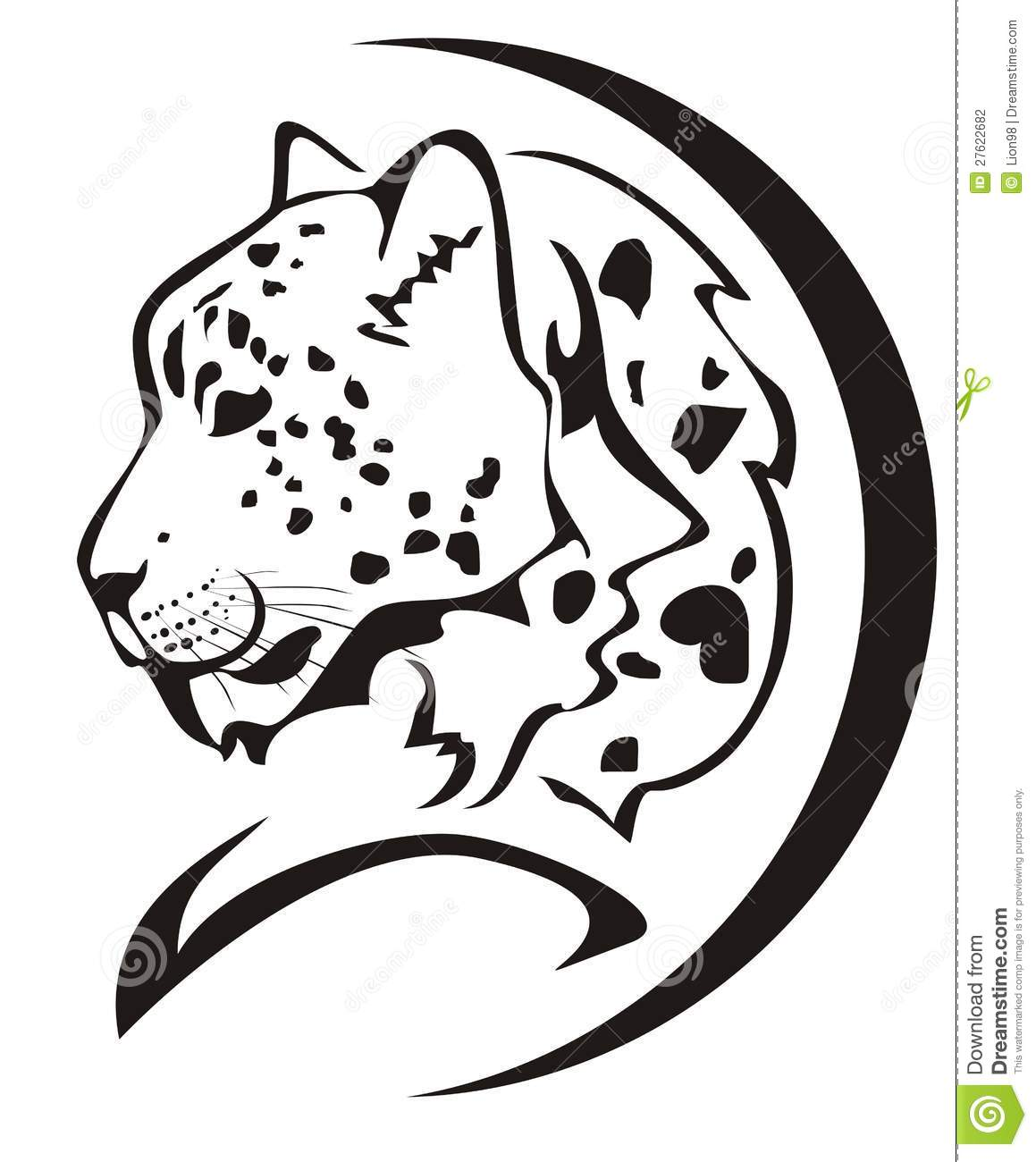 Snow Leopard Head Symbol Stock Photography