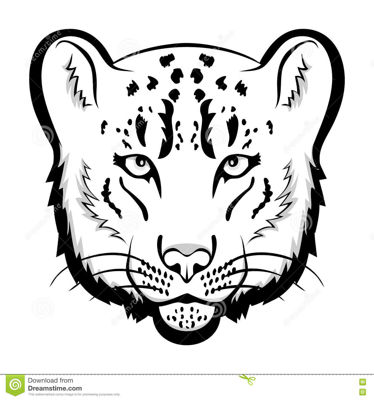 Snow Leopard Logo Mascot Snow Leopard Head Isolated Vector Illustration Cartoon Vector