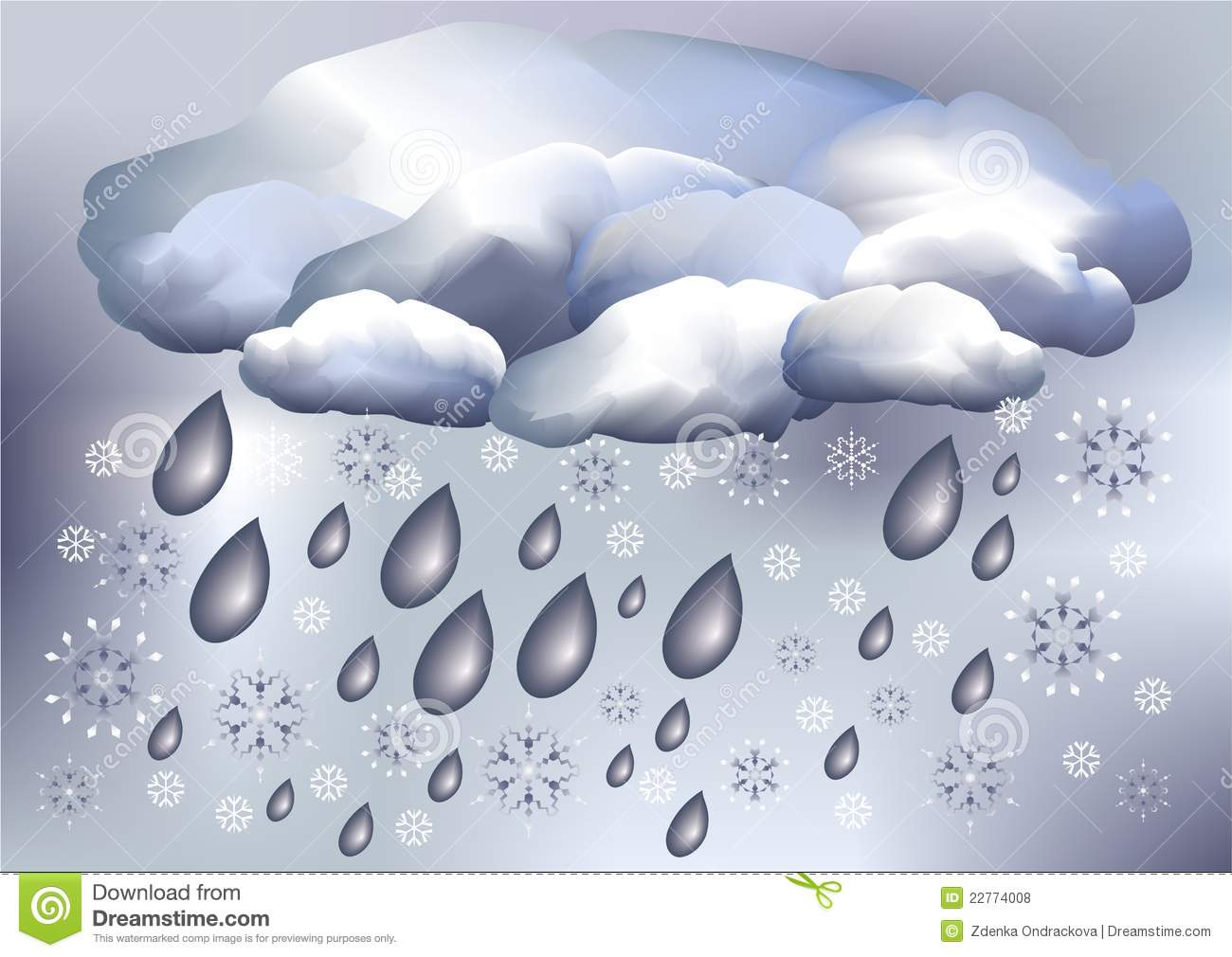 Snow And Rain Weather Stock Vector Illustration Of Snow