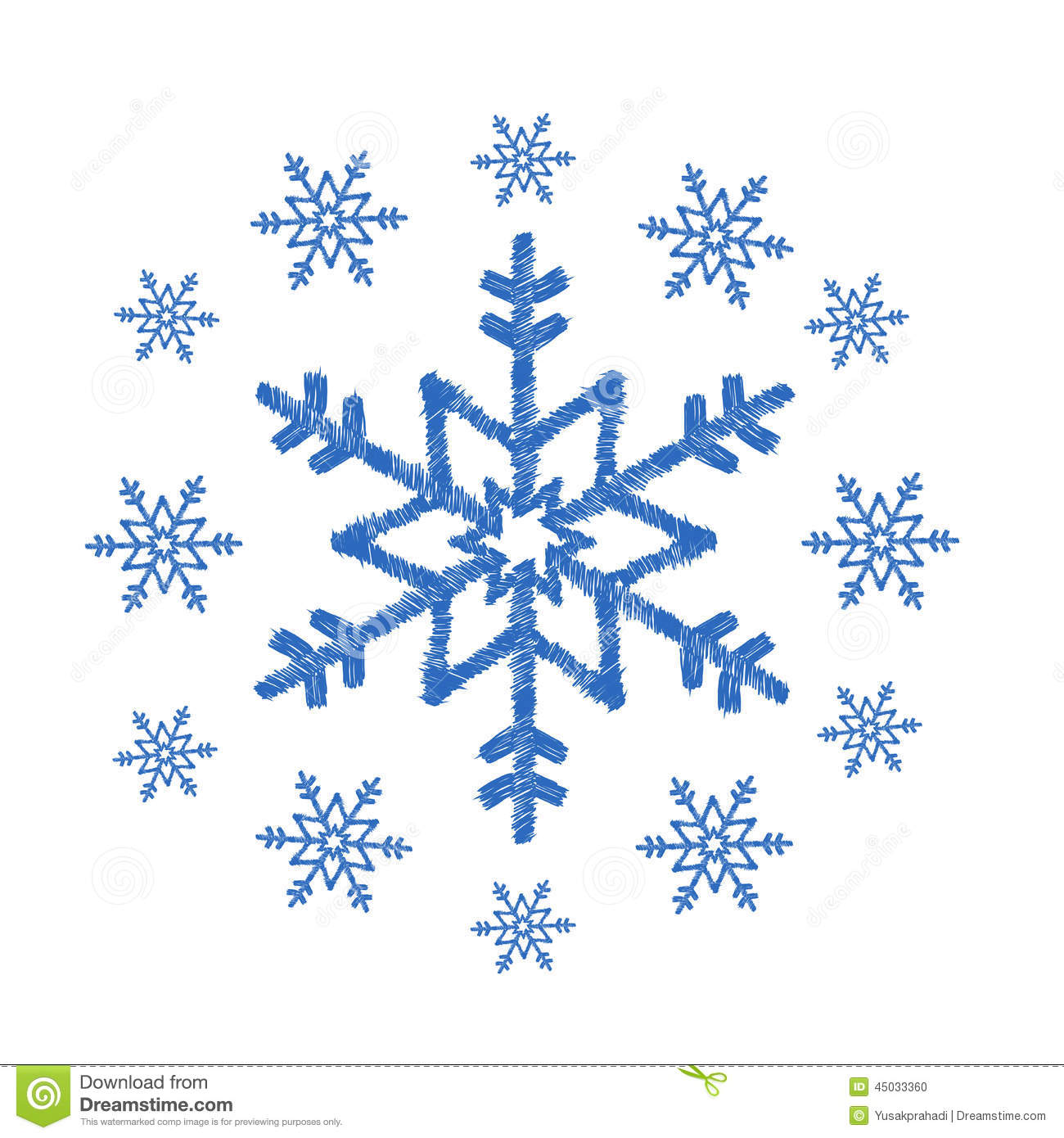 Snowflakes Doodle Stock Vector Image 45033360