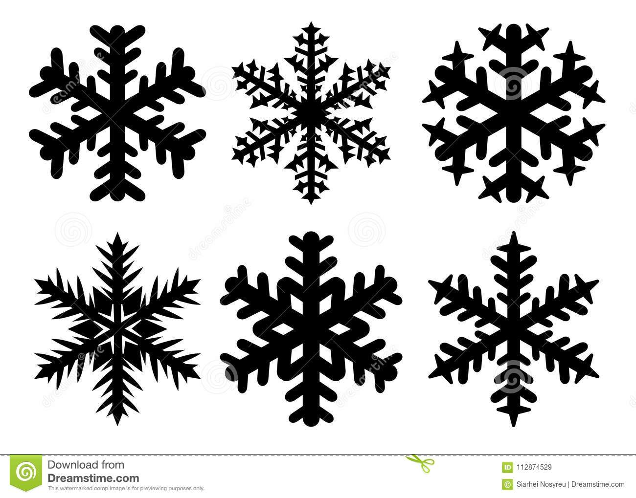Snowflakes Winter Silhouette Icon Set Vector Collection