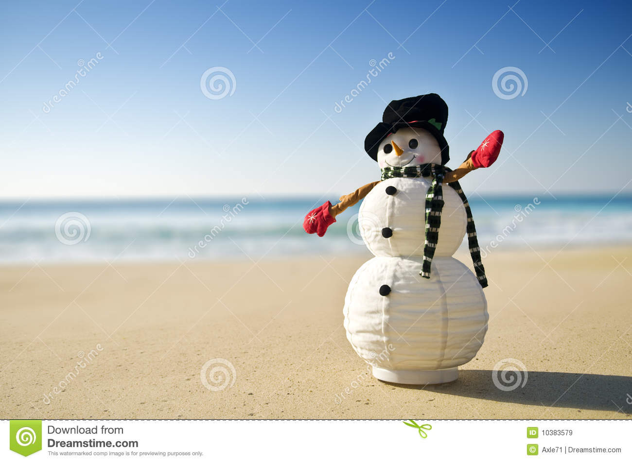 Snowman At The Beach Royalty Free Stock Images Image