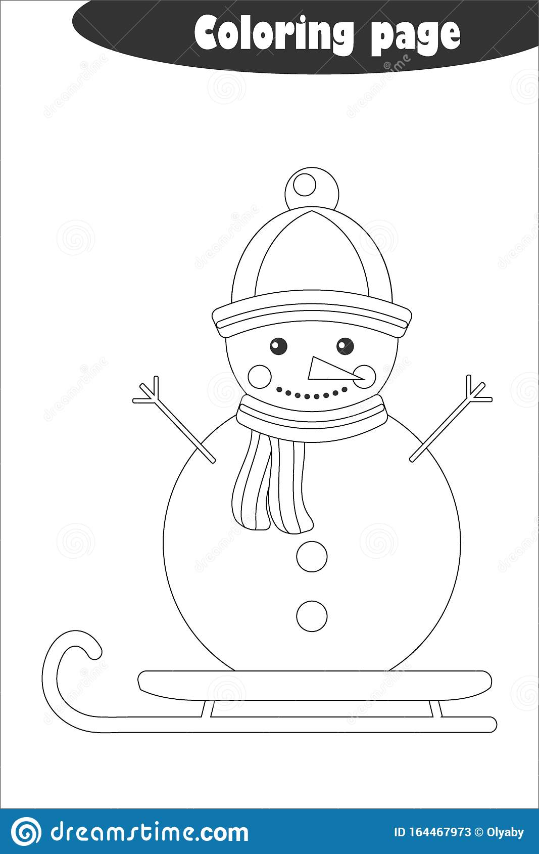 Snowman In Cartoon Style Coloring Page Christmas