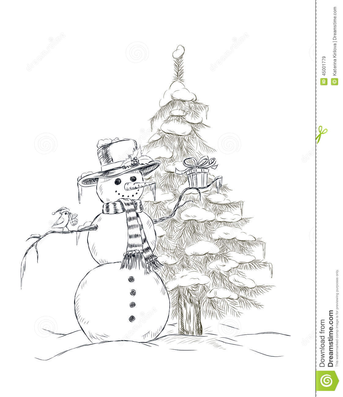 Little Snowman With Icicle Royalty Free Stock Photo