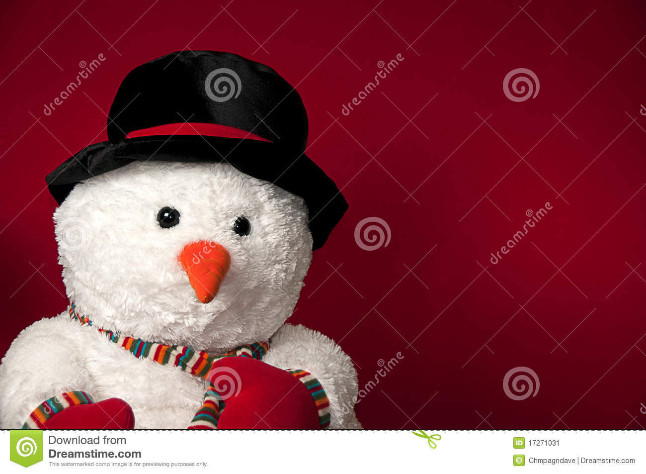 snowman placed on red background meant to allow space for verbage and