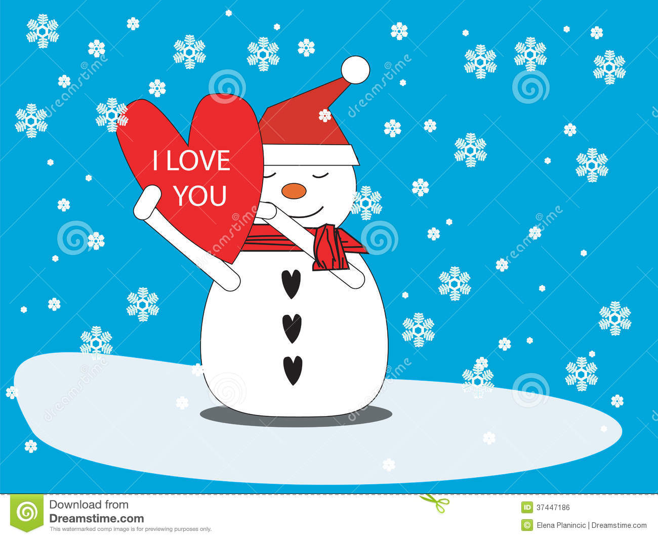 Snowman With Heart Royalty Free Stock Image