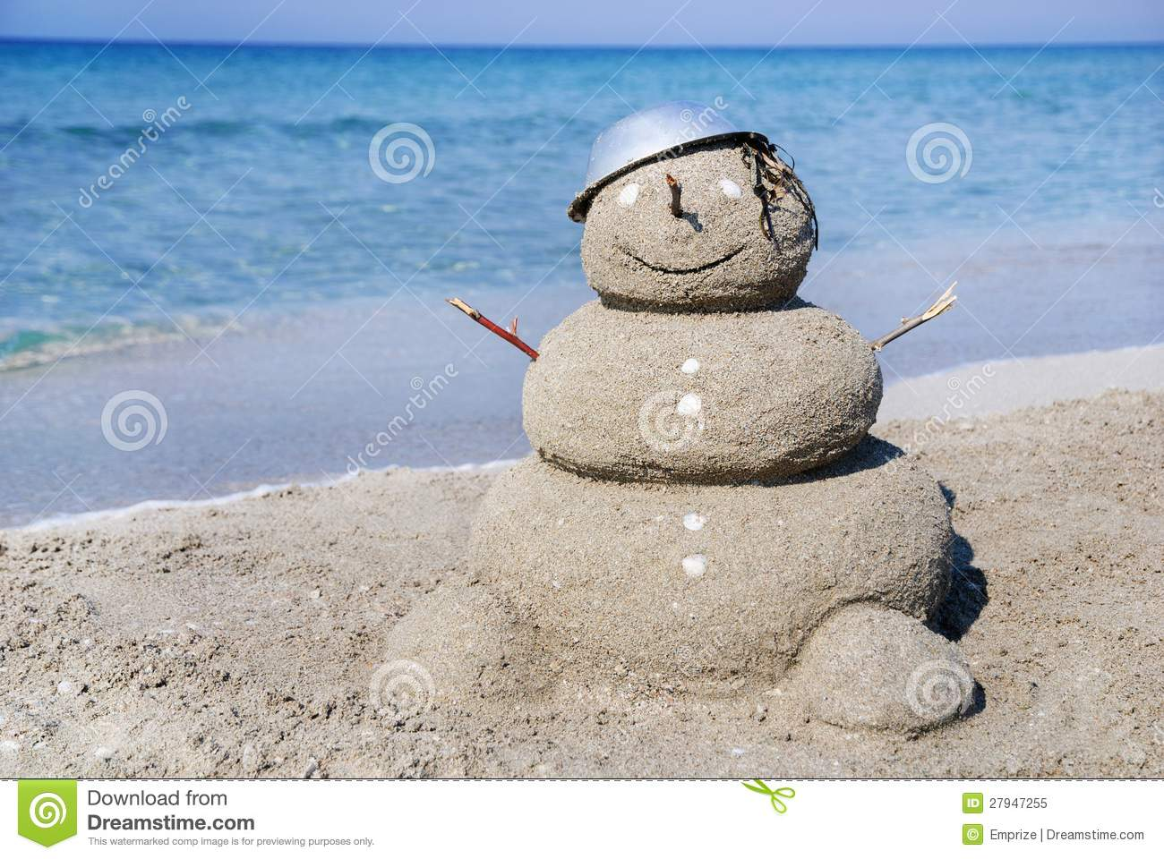 Snowman Made Out Of Sand Holiday Concept Royalty Free