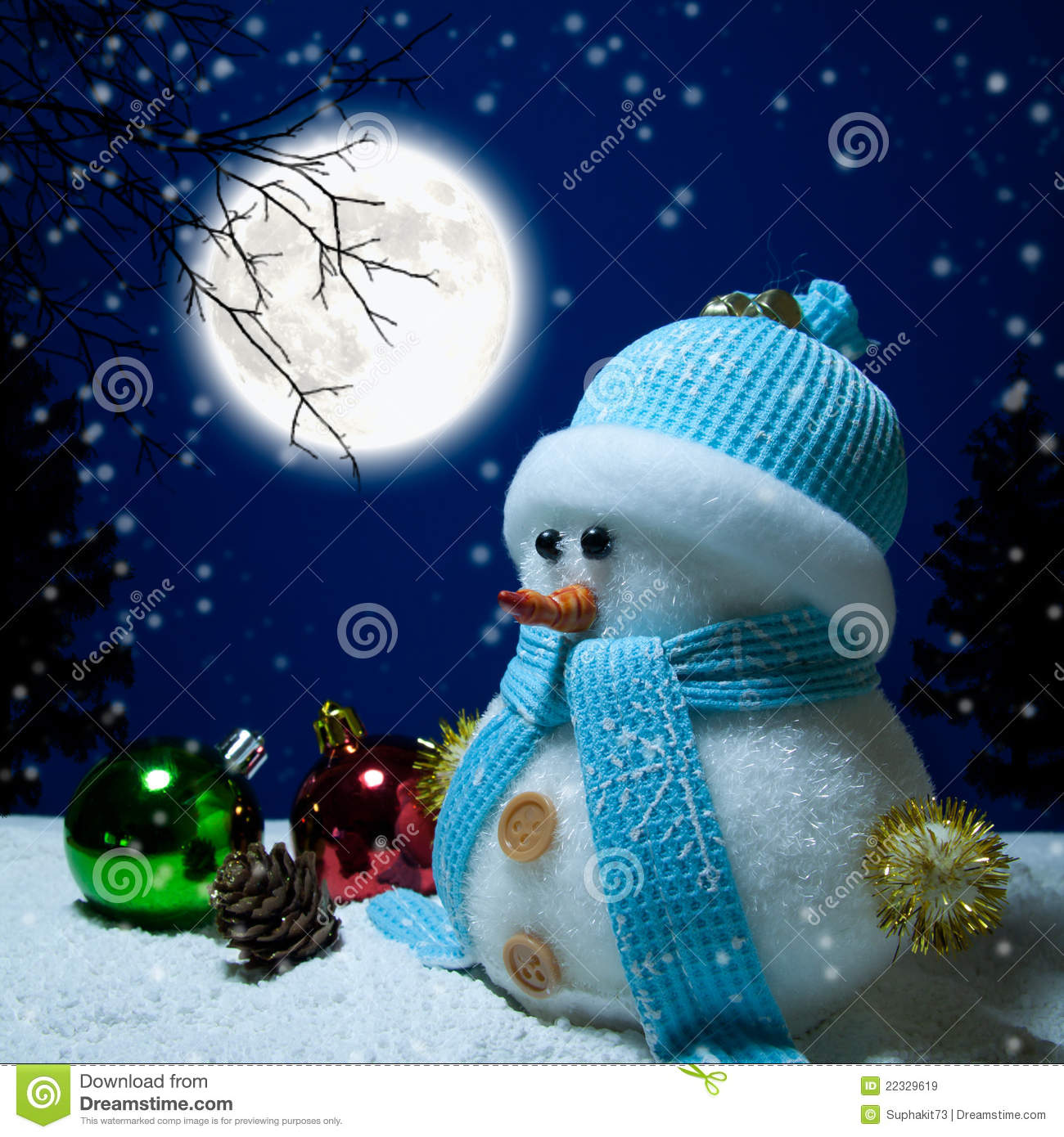 Snowman And Moon Royalty Free Stock Images