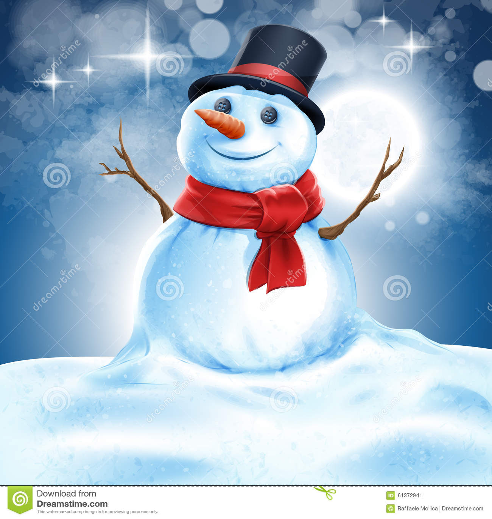 Snowman Night Stock Vector Image Of Aged Festive Flat