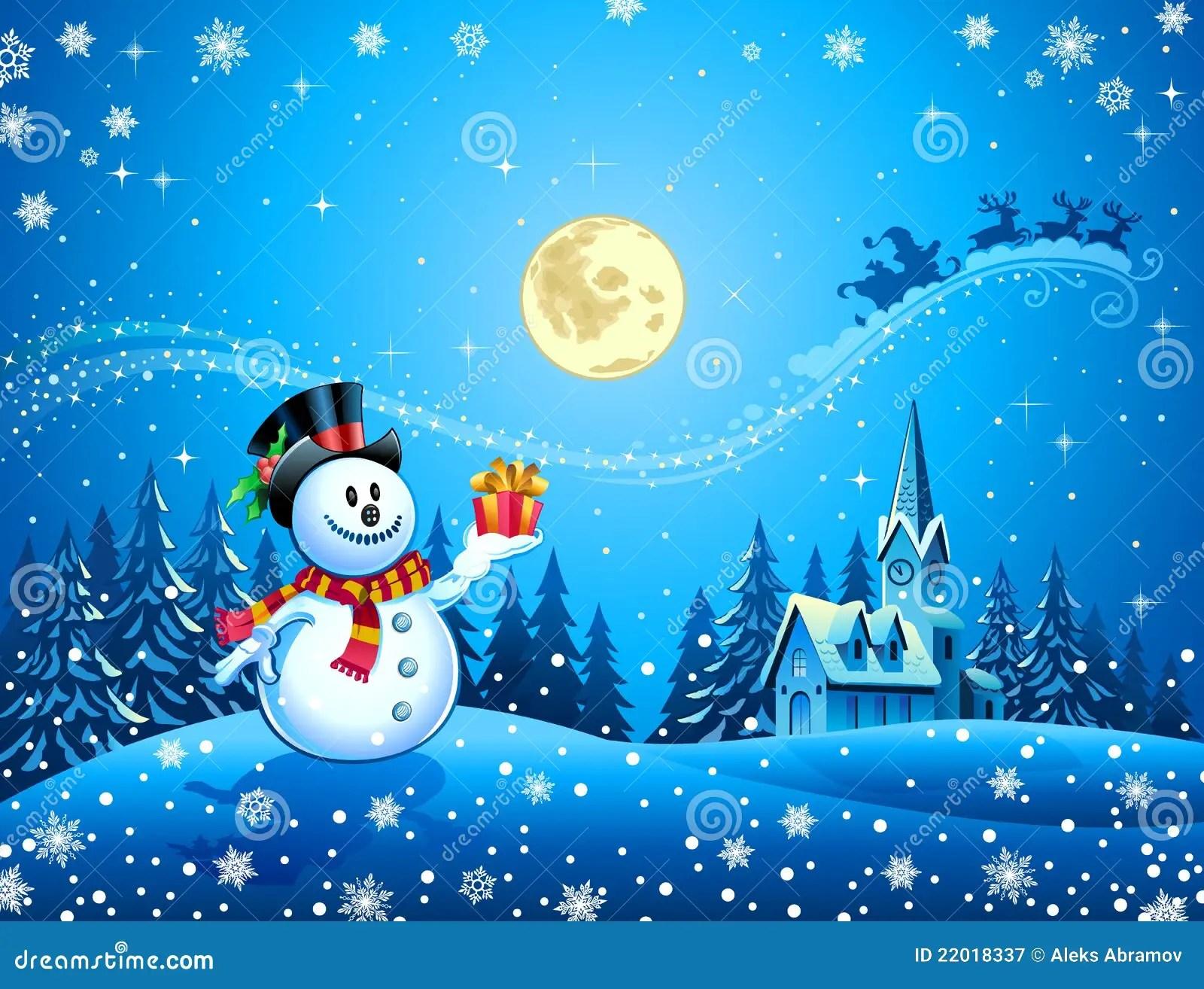 Snowman And Santas Sleigh Stock Vector Illustration Of