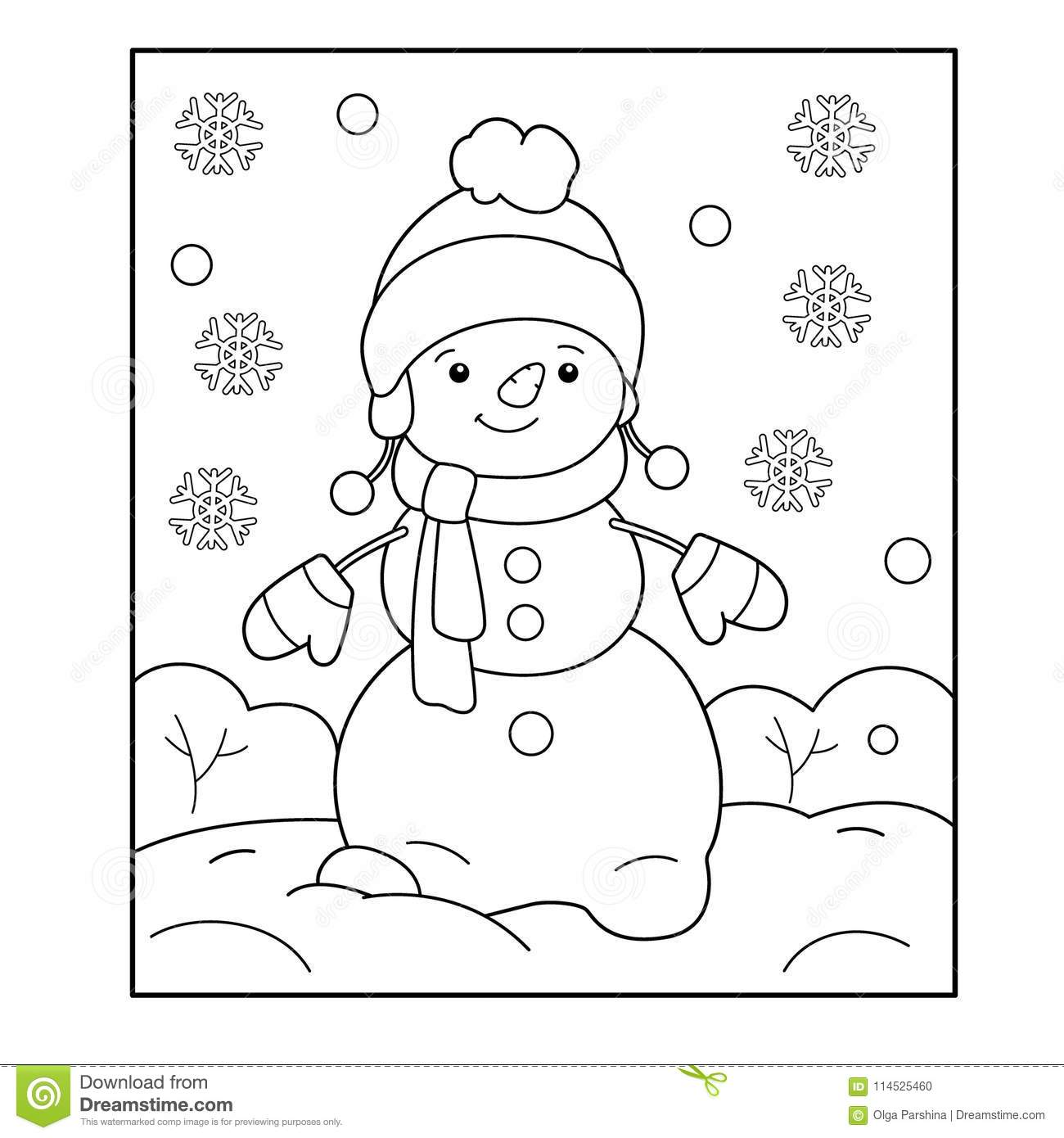 Snowman Winter Coloring Book For Kids Stock Vector
