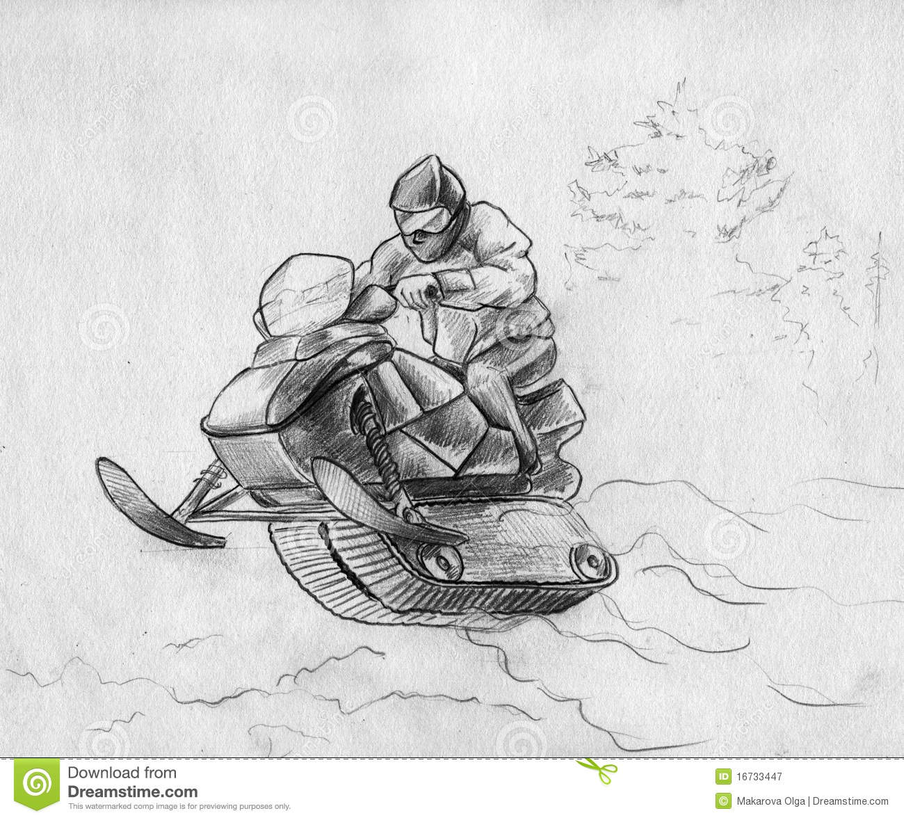 Snowmobile Rider In A Jump Stock Illustration