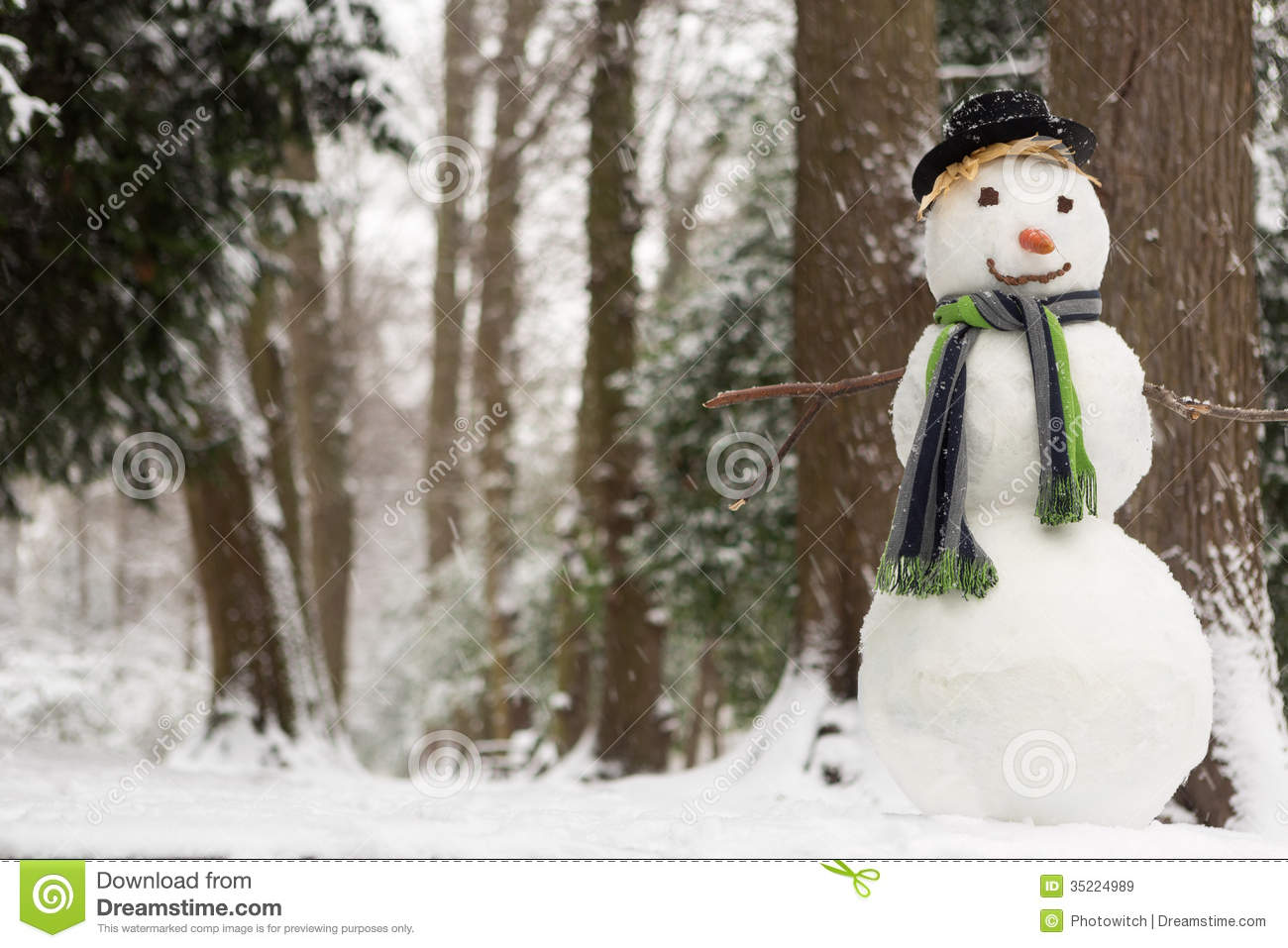 Snowy Day And Snowman Royalty Free Stock Images Image