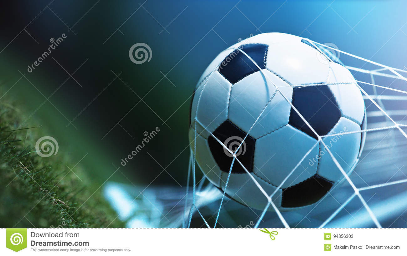 Soccer Ball In Goal Stock Image Image Of Activity