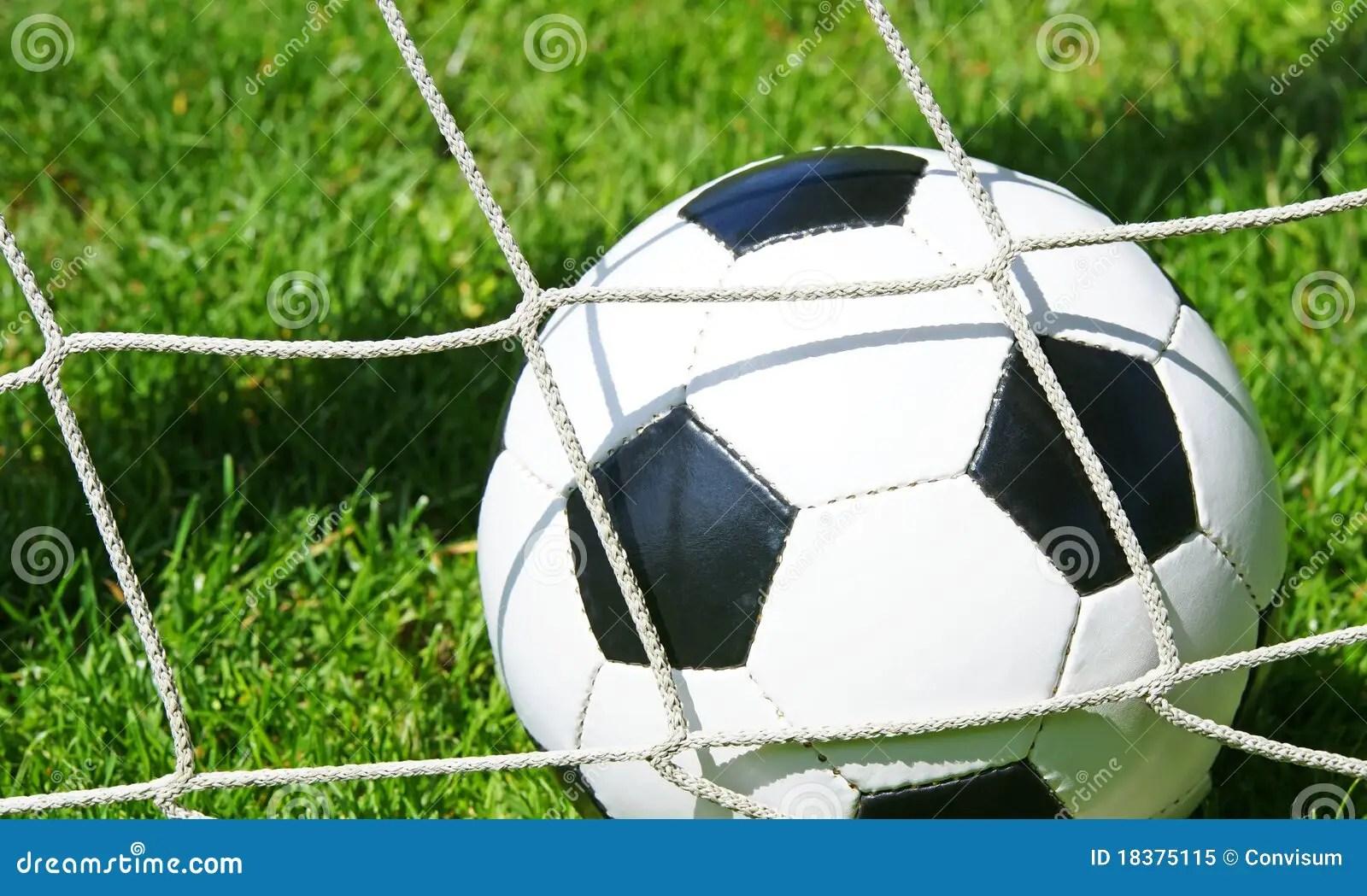 Soccer Ball In Goal Net Stock Image Image Of Recreational