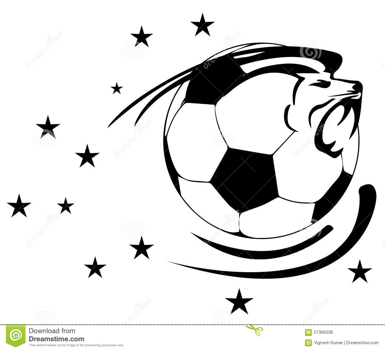 Soccer Ball With Lion Stock Illustration Image Of Game