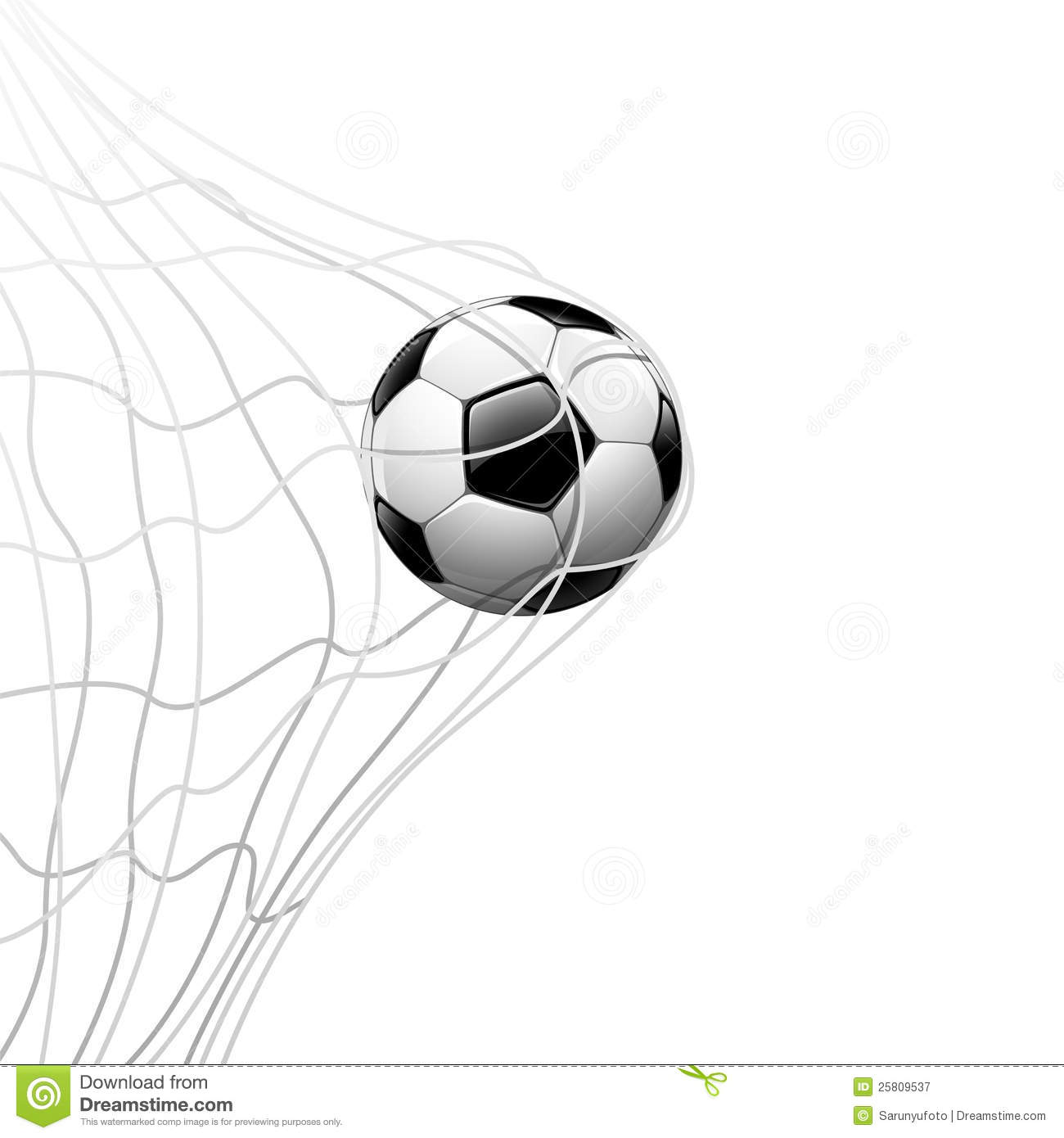 Soccer Ball In Net Background Stock Illustration
