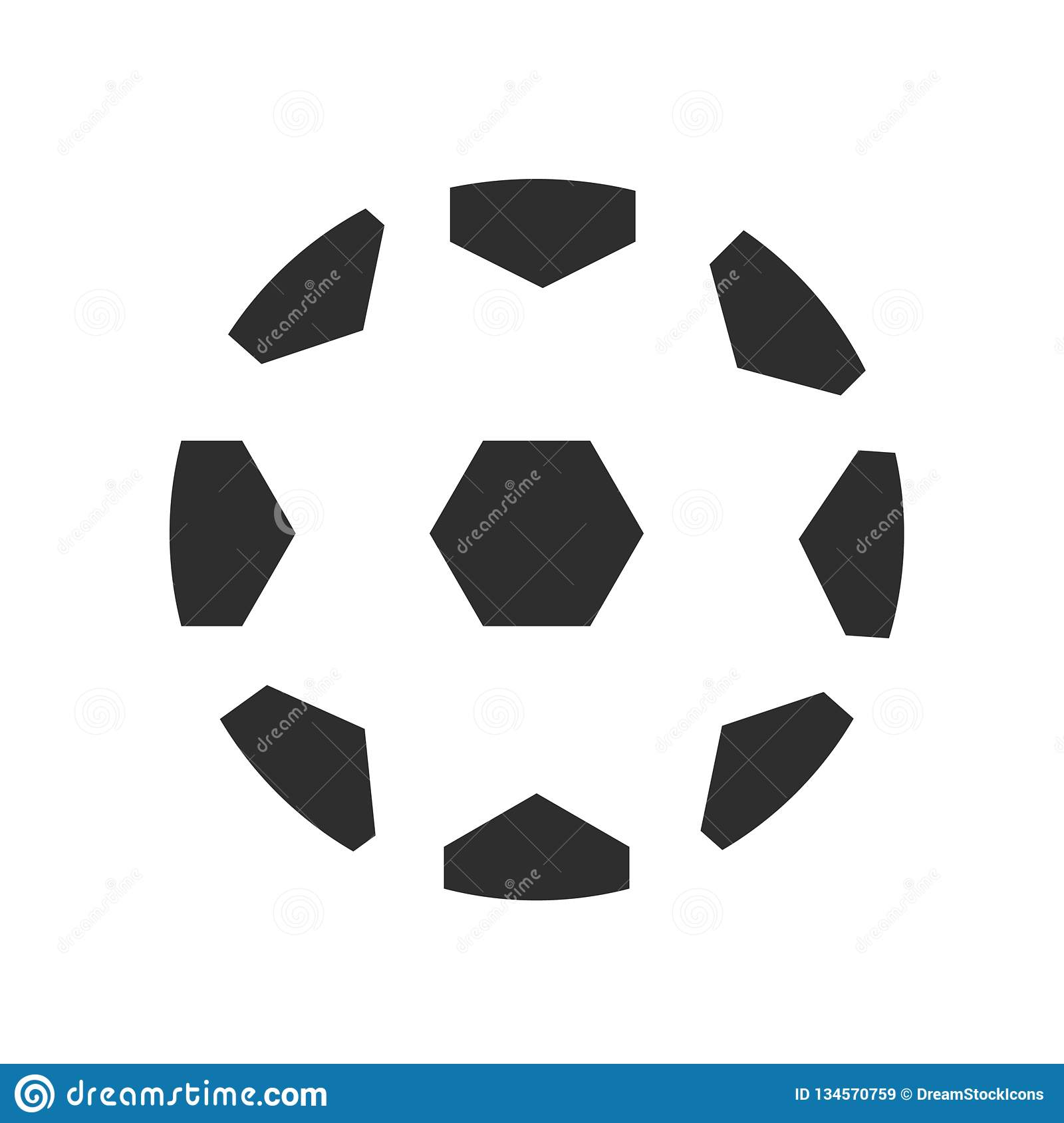 Soccer Ball With Pentagons Icon Vector Sign And Symbol