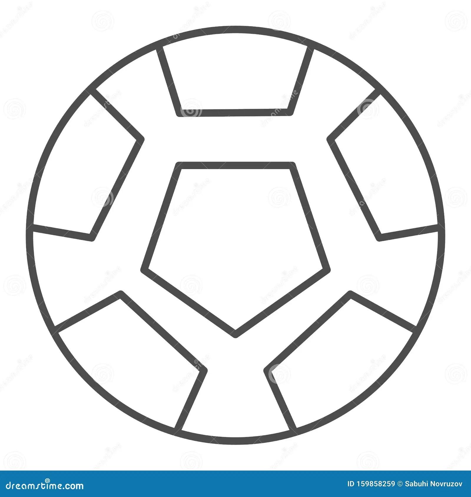 Soccer Ball Thin Line Icon Football Ball Vector