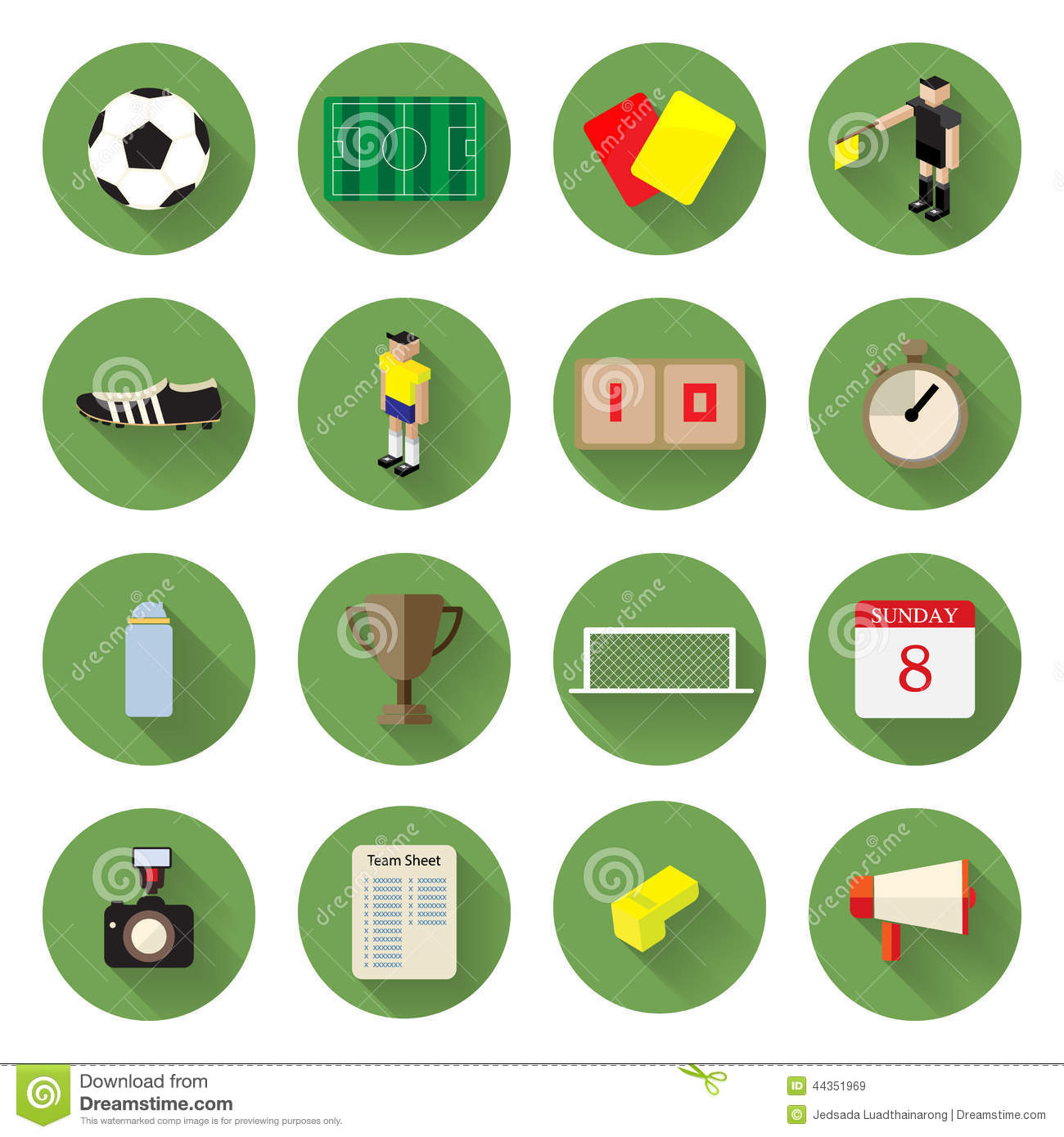 Soccer Football Icons Set Flat Design With Long Shadow