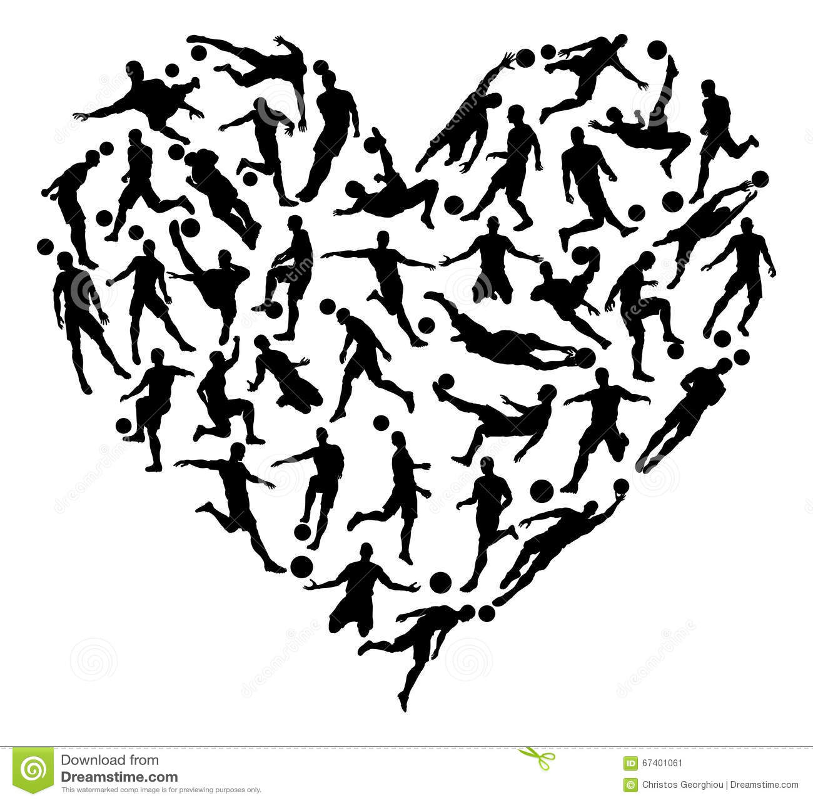 Soccer Football Silhouettes Heart Stock Vector