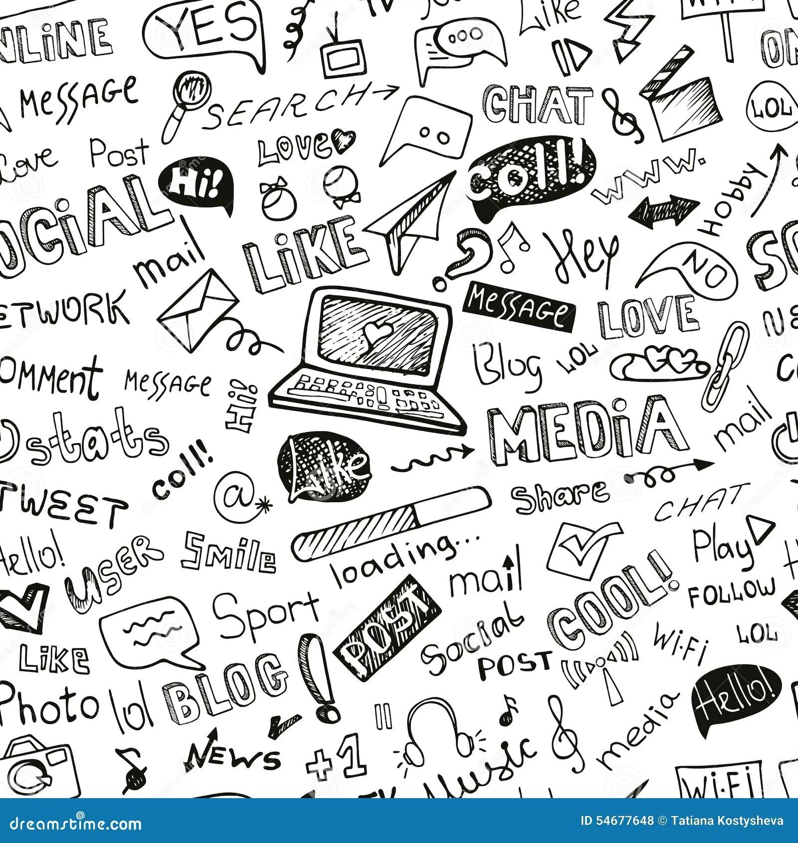 Sociaal Media Word Pictogram Naadloos Patroon Doodle