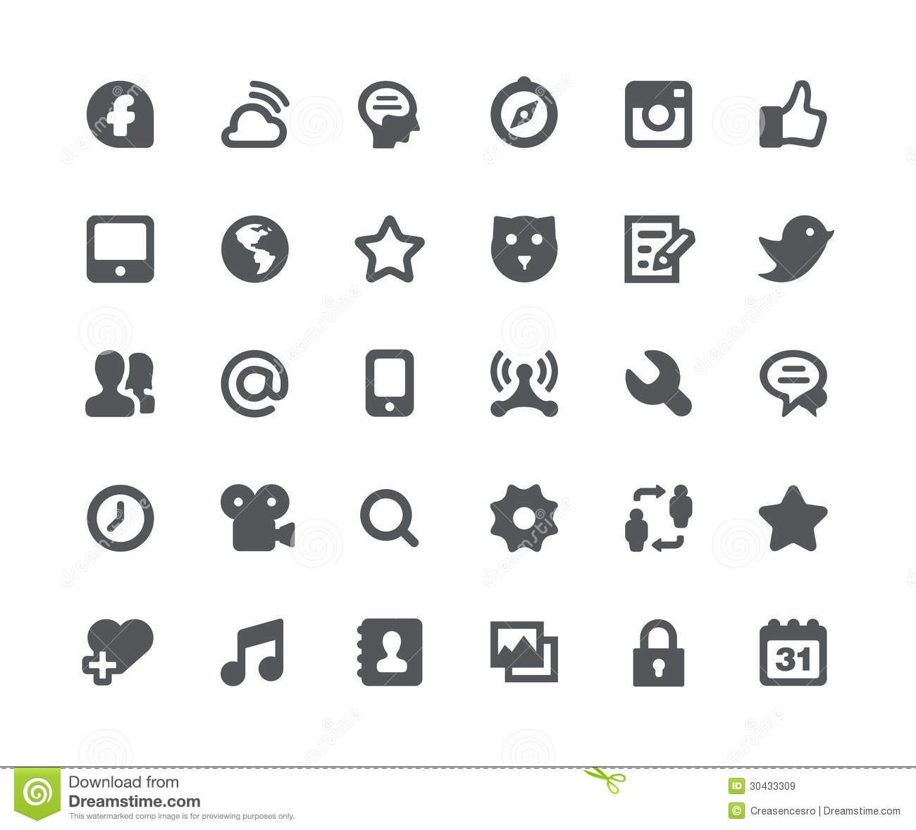 Social Media Network Icon Set Royalty Free Stock Images