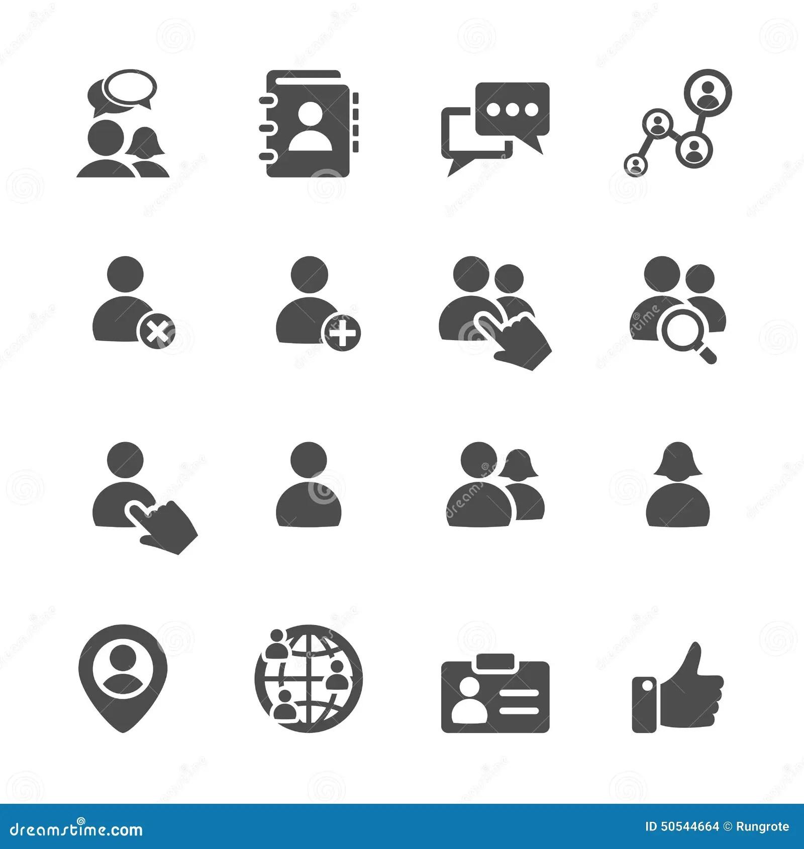 Social Network User Icon Set Vector Eps10 Stock Vector