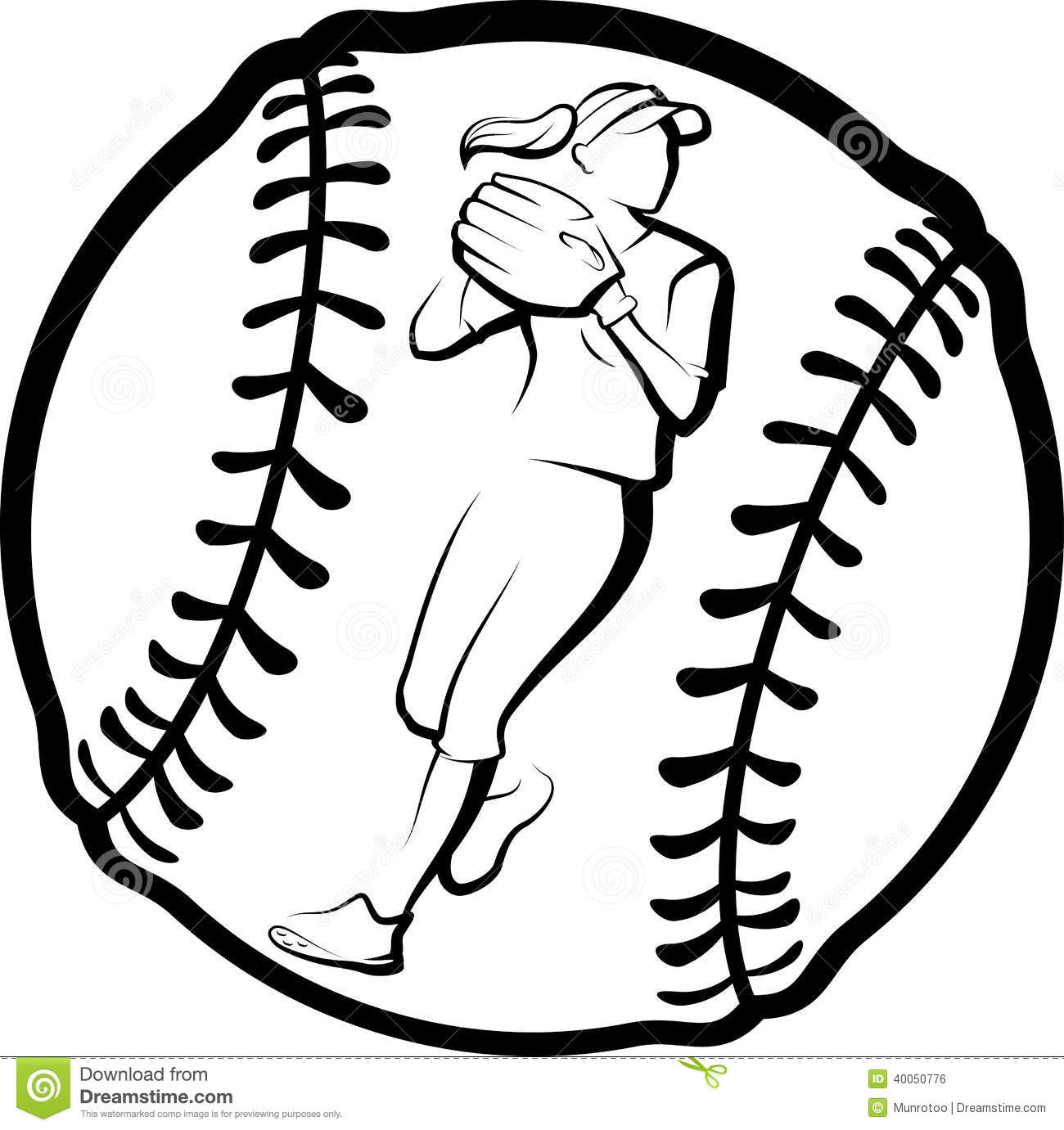 Softball Player Throwing In Ball Stock Vector