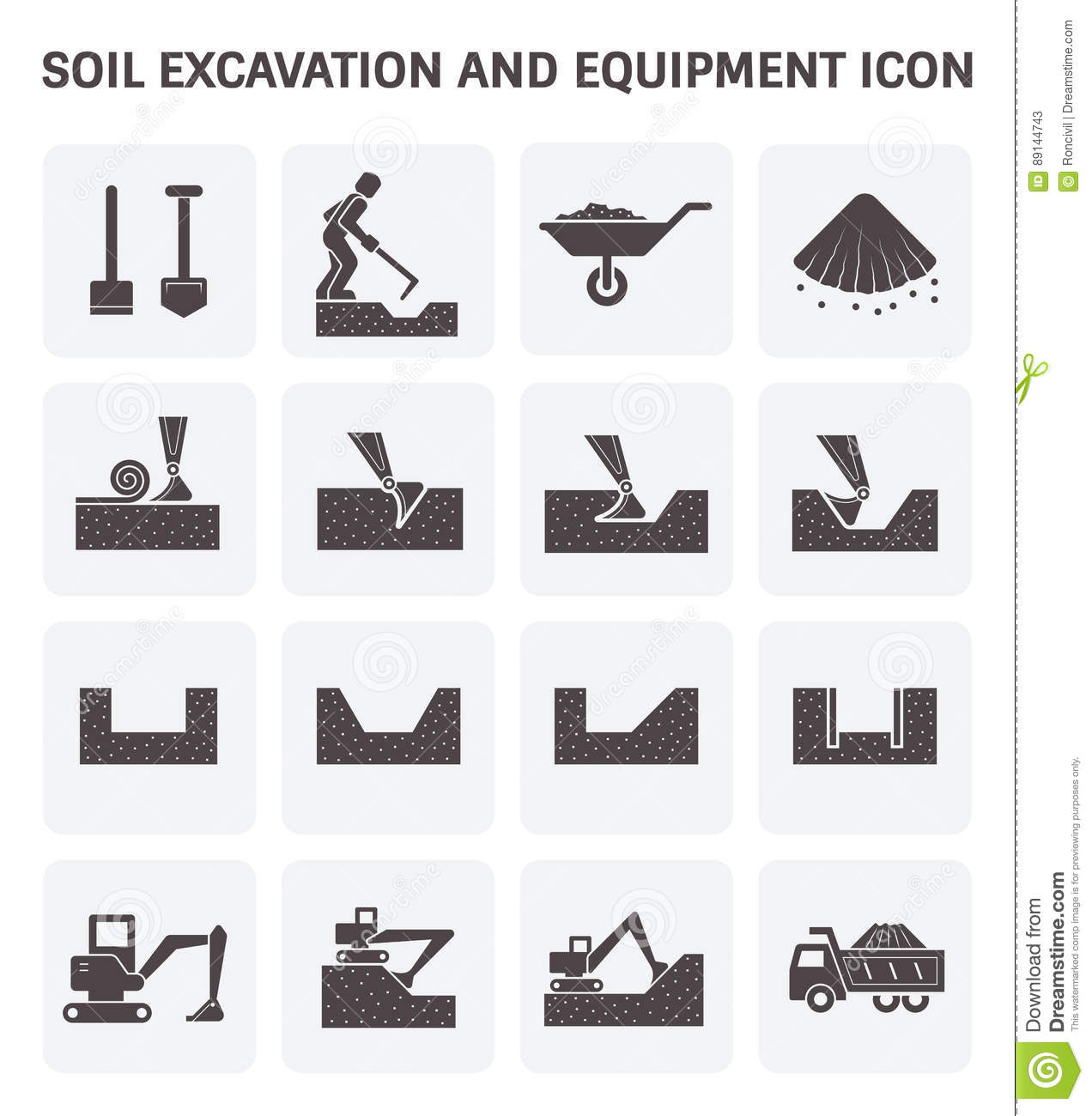 Soil Excavation Icon Stock Vector Illustration Of Machine