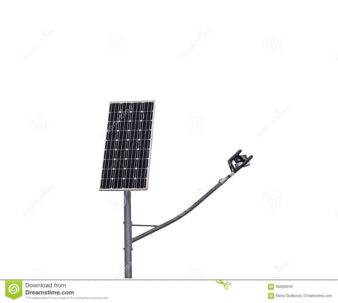 Solar Panel And Solar Street Light Isolated On White