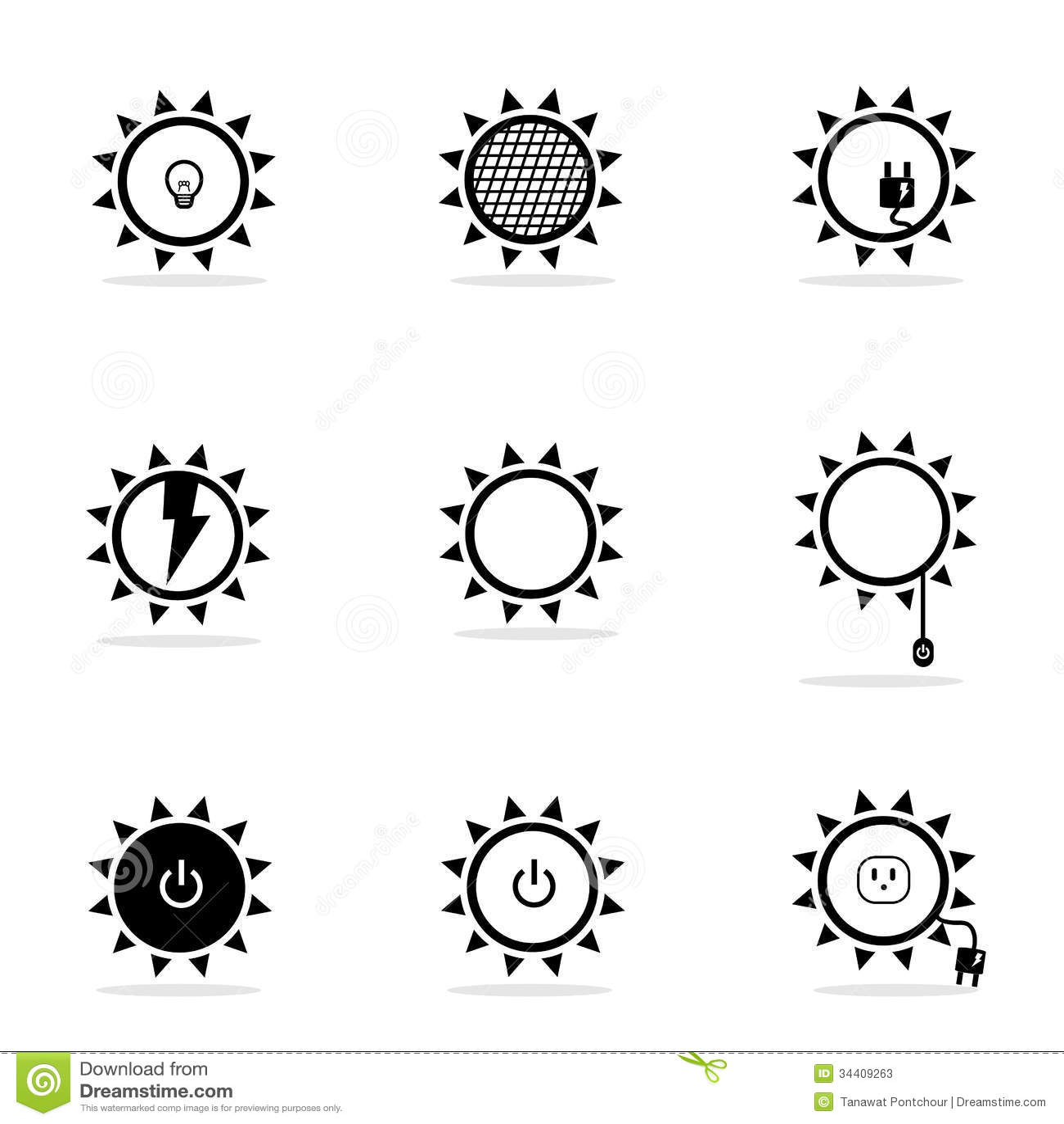 Solar Power Icons Set Stock Illustration Illustration Of