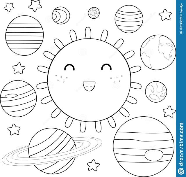 Coloring Page of Solar System Stock Vector - Illustration of baby