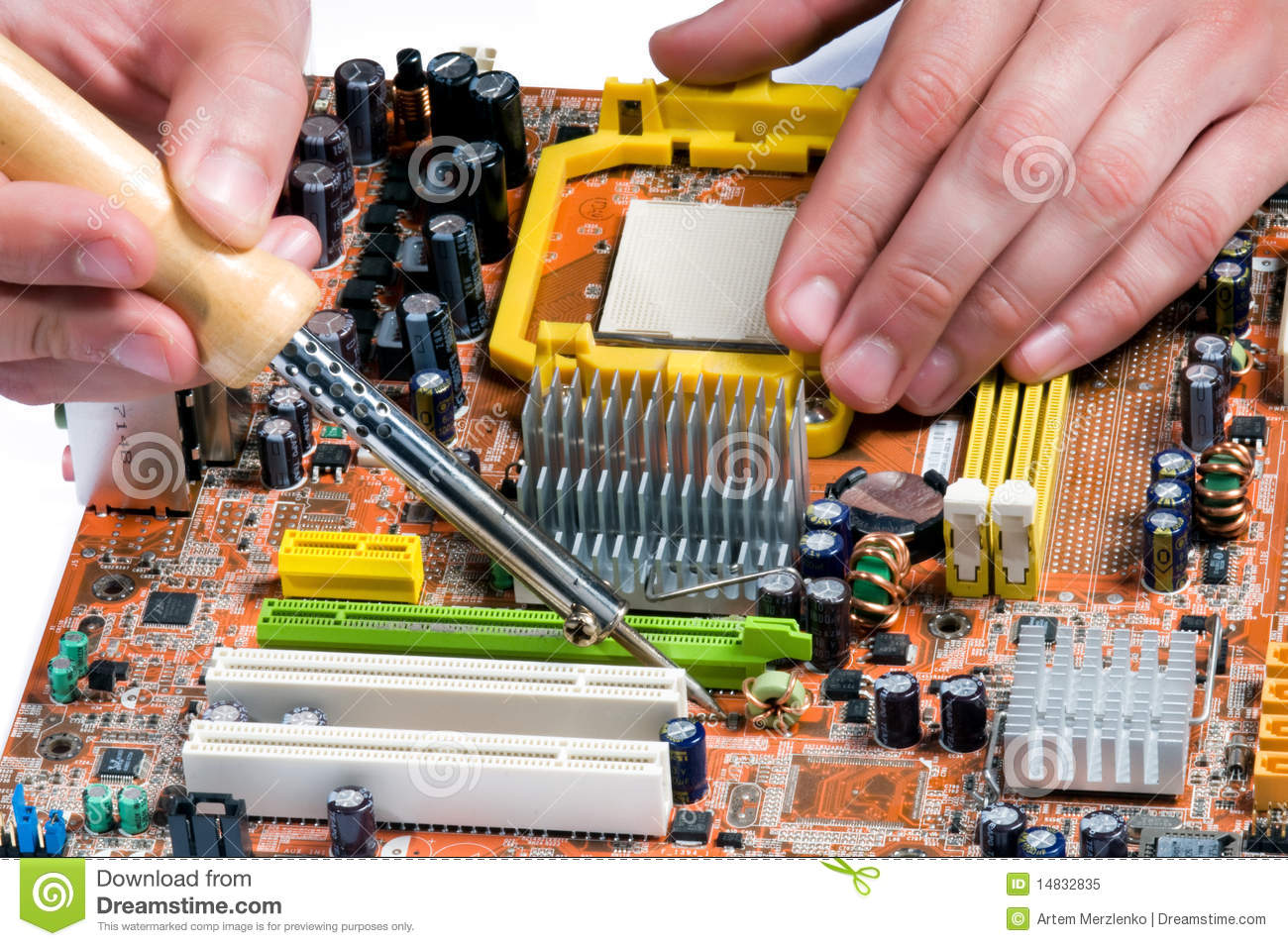 Soldering A Circuit Board Royalty Free Stock Photo