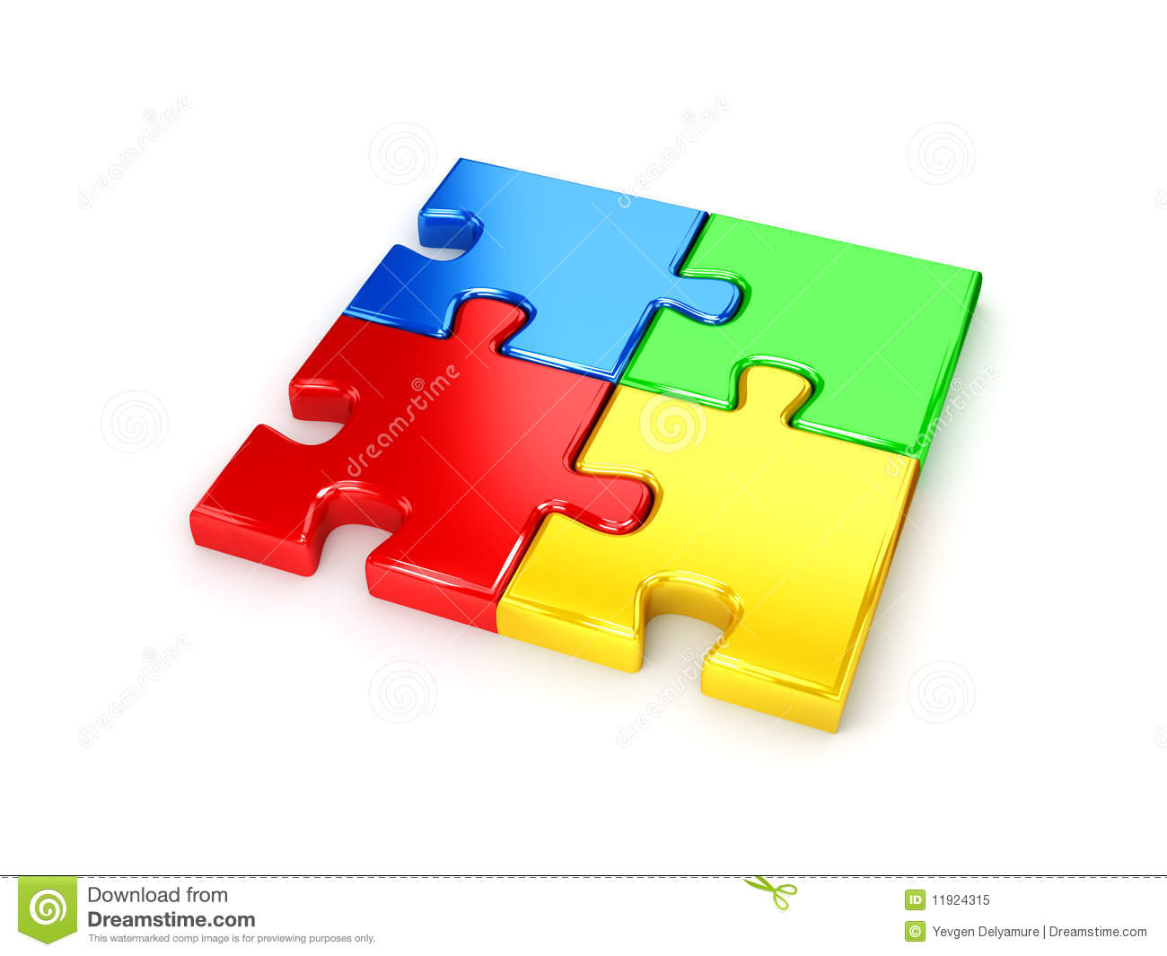 Solved Puzzle From Blue Red Green And Yellow Pie Stock