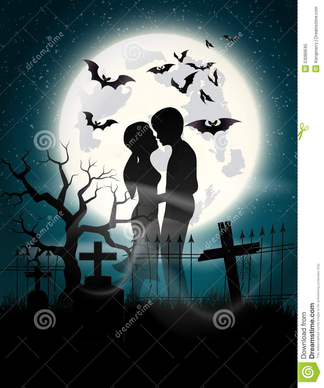 Soul Lovers In The Moonlight Stock Vector Image 53080645