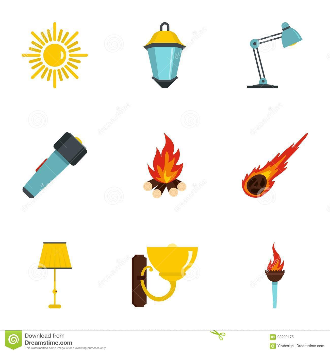 Sources Of Light Icon Set Flat Style Stock Vector
