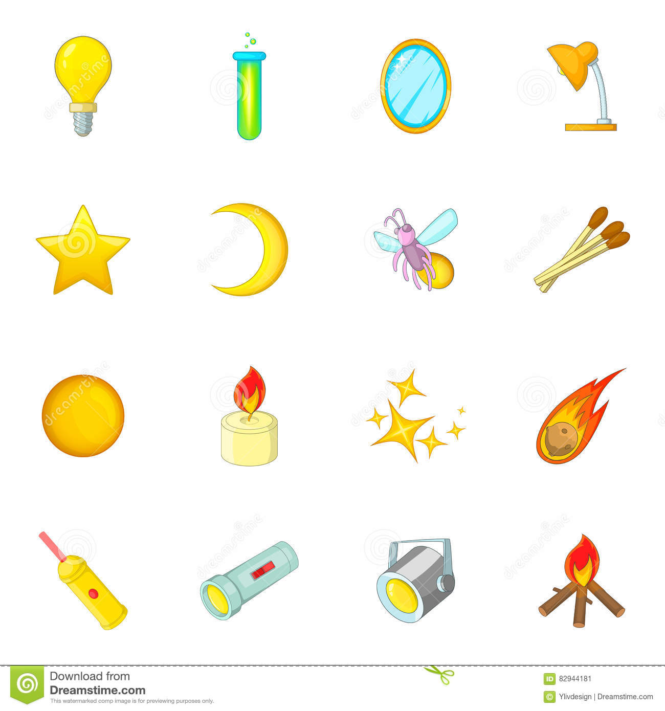 Sources Of Light Icons Set Cartoon Style Stock Vector
