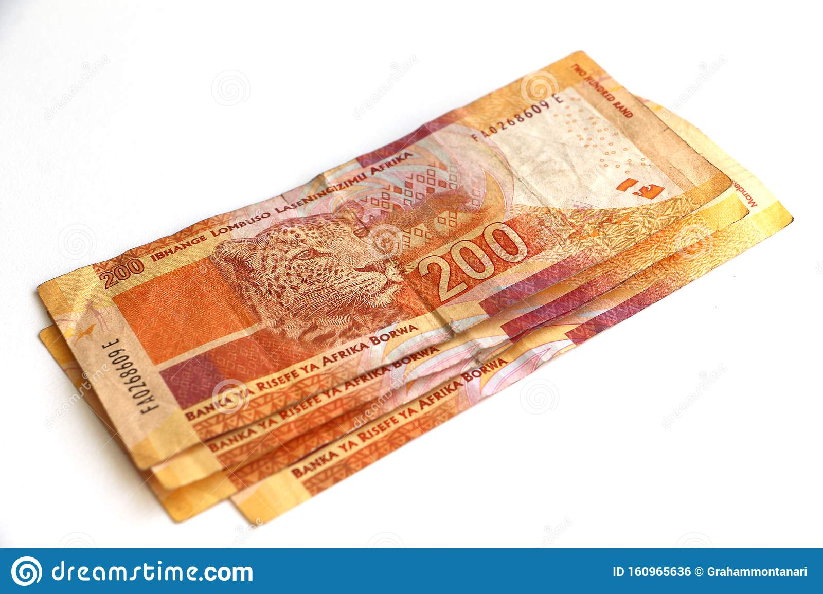 South African Money Two Hundred Rand Notes Stock Photo