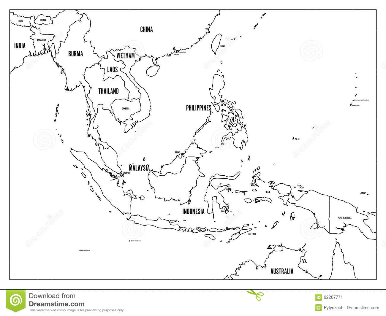 South East Asia Political Map Black Outline On White