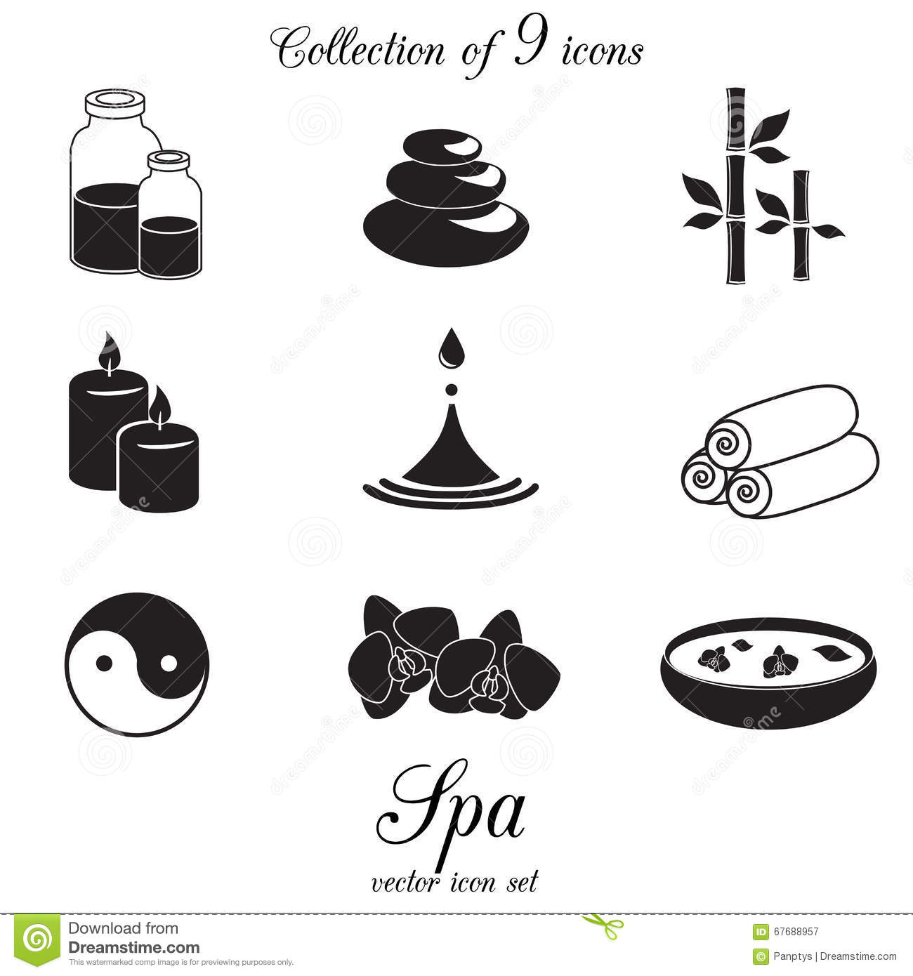 Beauty Natural Spa Symbols Stone Cartoon Vector