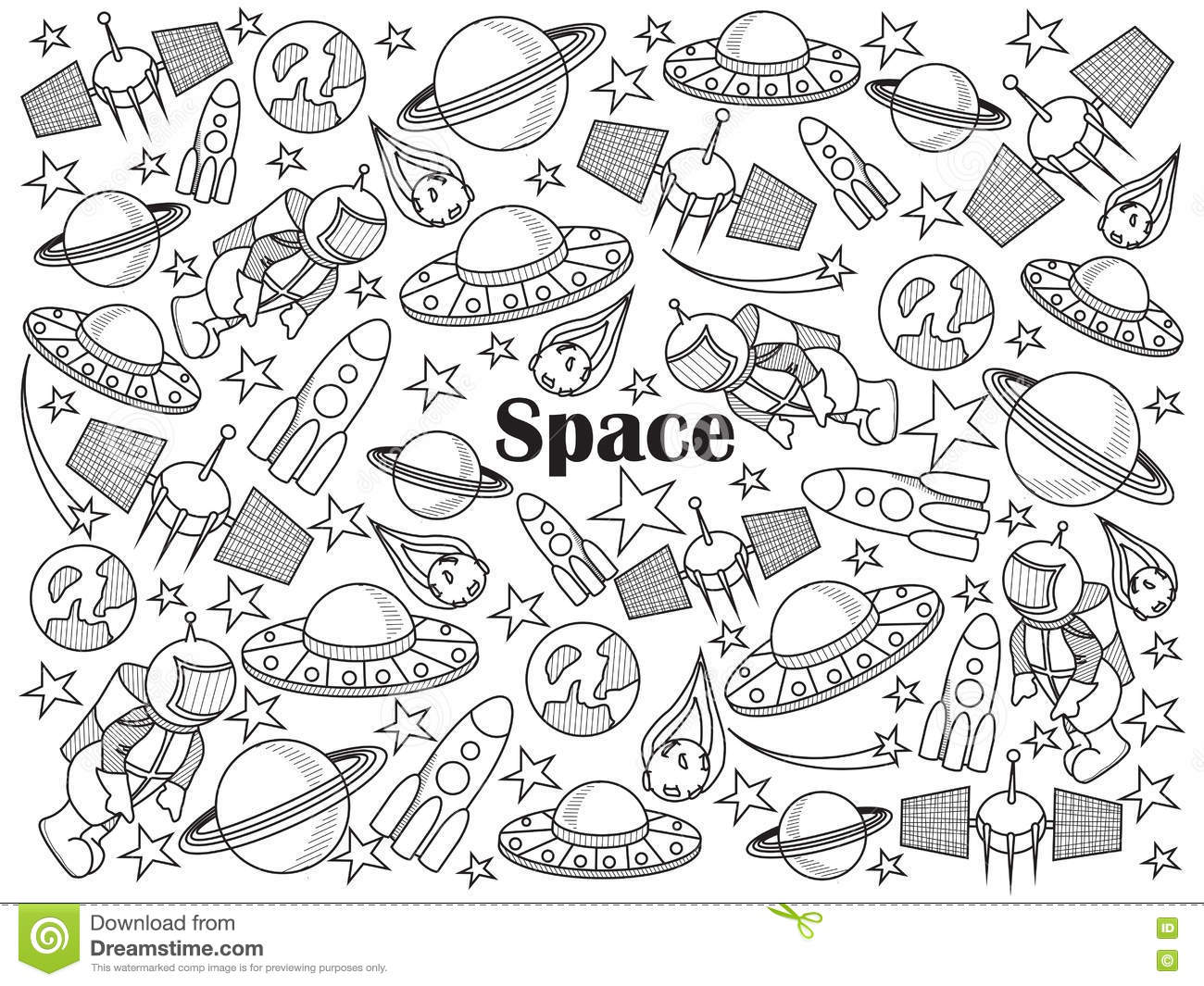 Space Colorless Set Vector Illustration Stock Vector