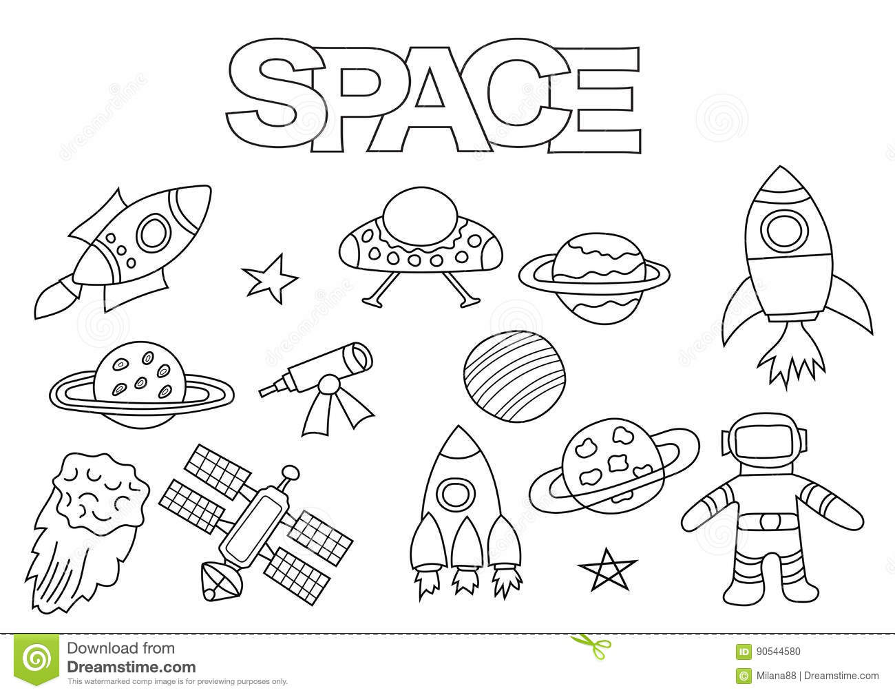Space Elements Hand Drawn Set Coloring Book Template